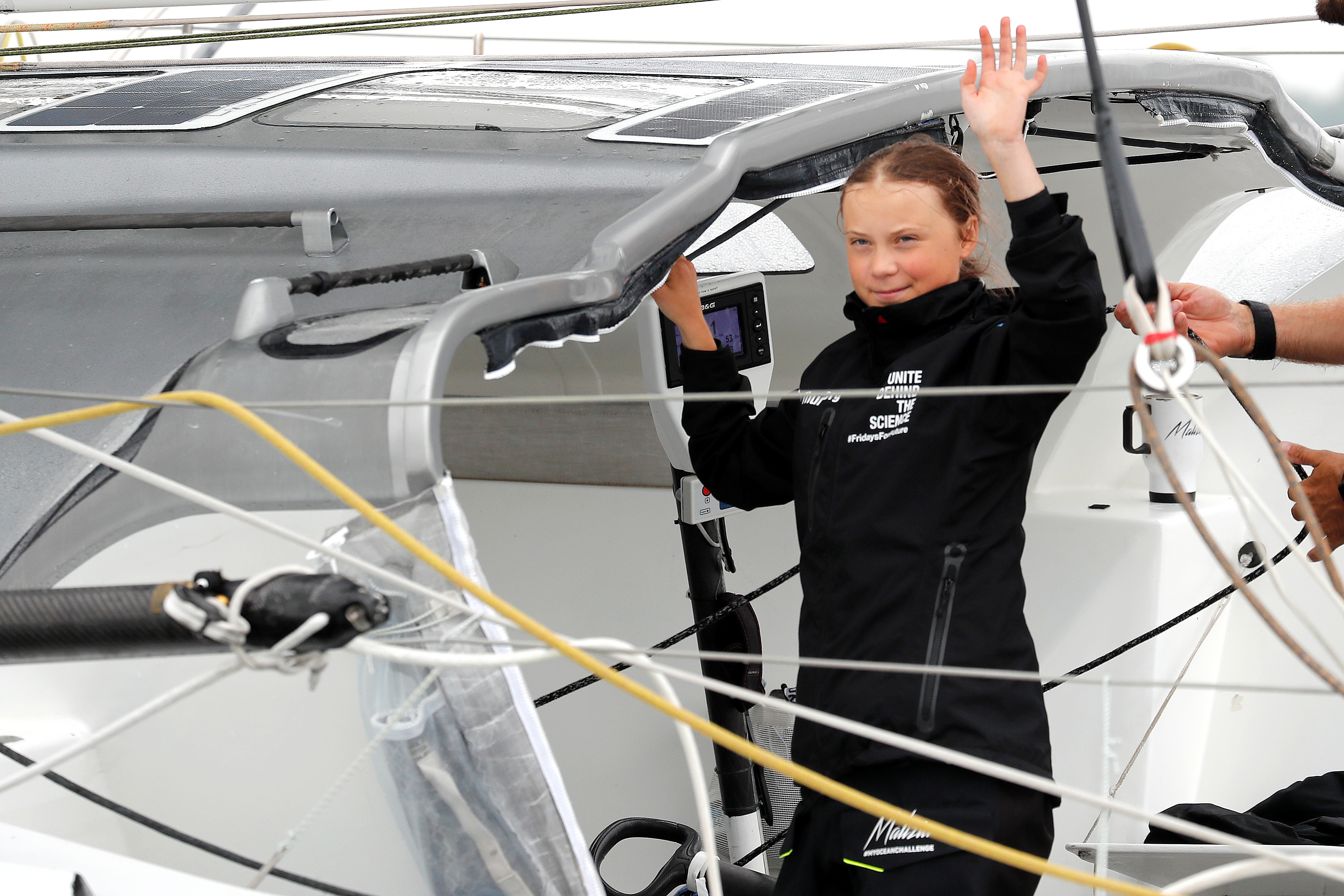 Swedish 16-year-old activist Greta Thunberg sails on the Malizia II racing yacht in New York Harbor as she nears the completion of her trans-Atlantic crossing in order to attend a United Nations summit on climate change in New York, U.S., August 28, 2019. REUTERS/Mike Segar