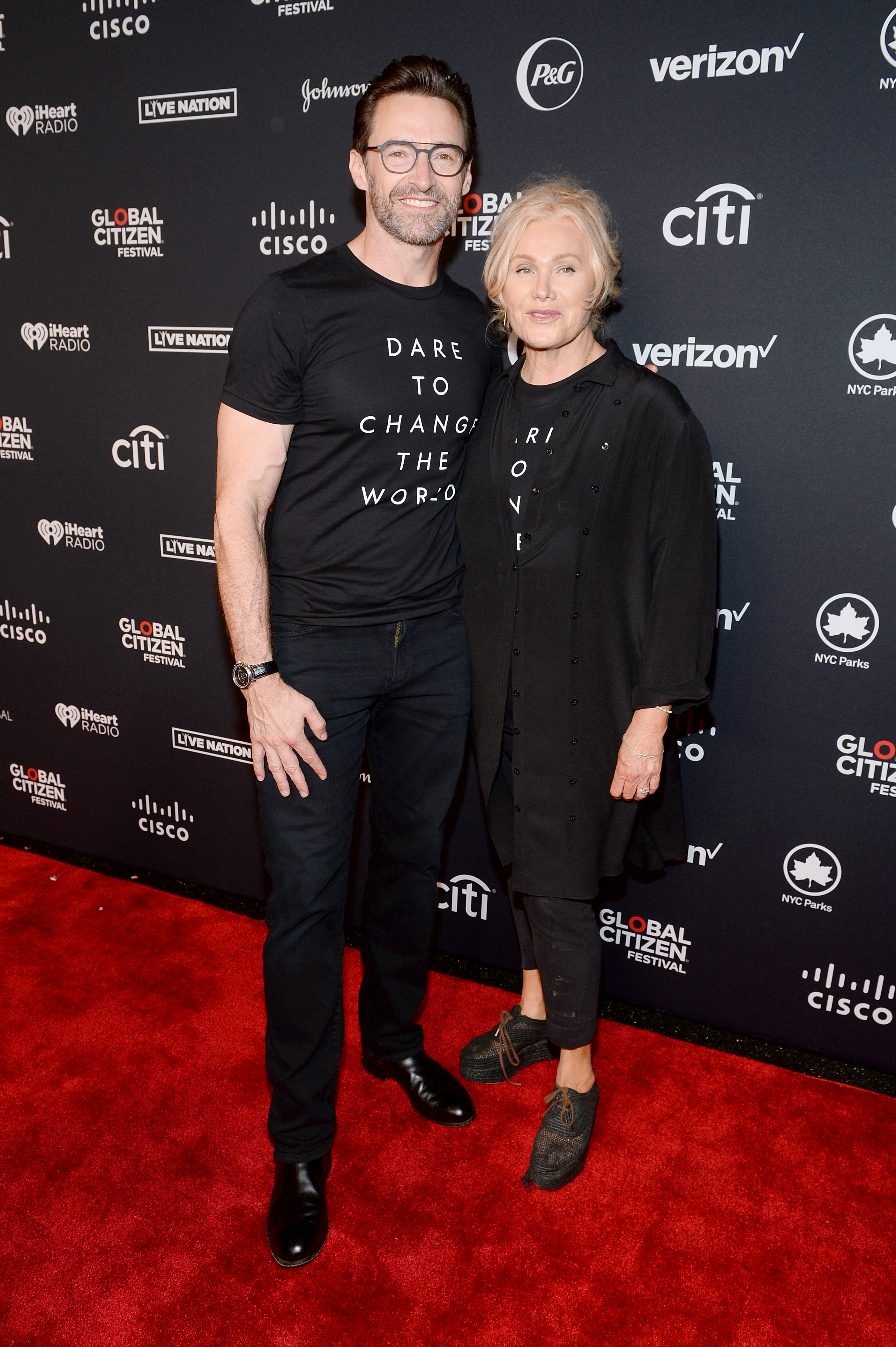 NEW YORK, NEW YORK - SEPTEMBER 28: Hugh Jackman and Deborra-lee Furness attend the 2019 Global Citizen Festival: Power The Movement in Central Park on September 28, 2019 in New York City. (Photo by Noam Galai/Getty Images for Global Citizen)
