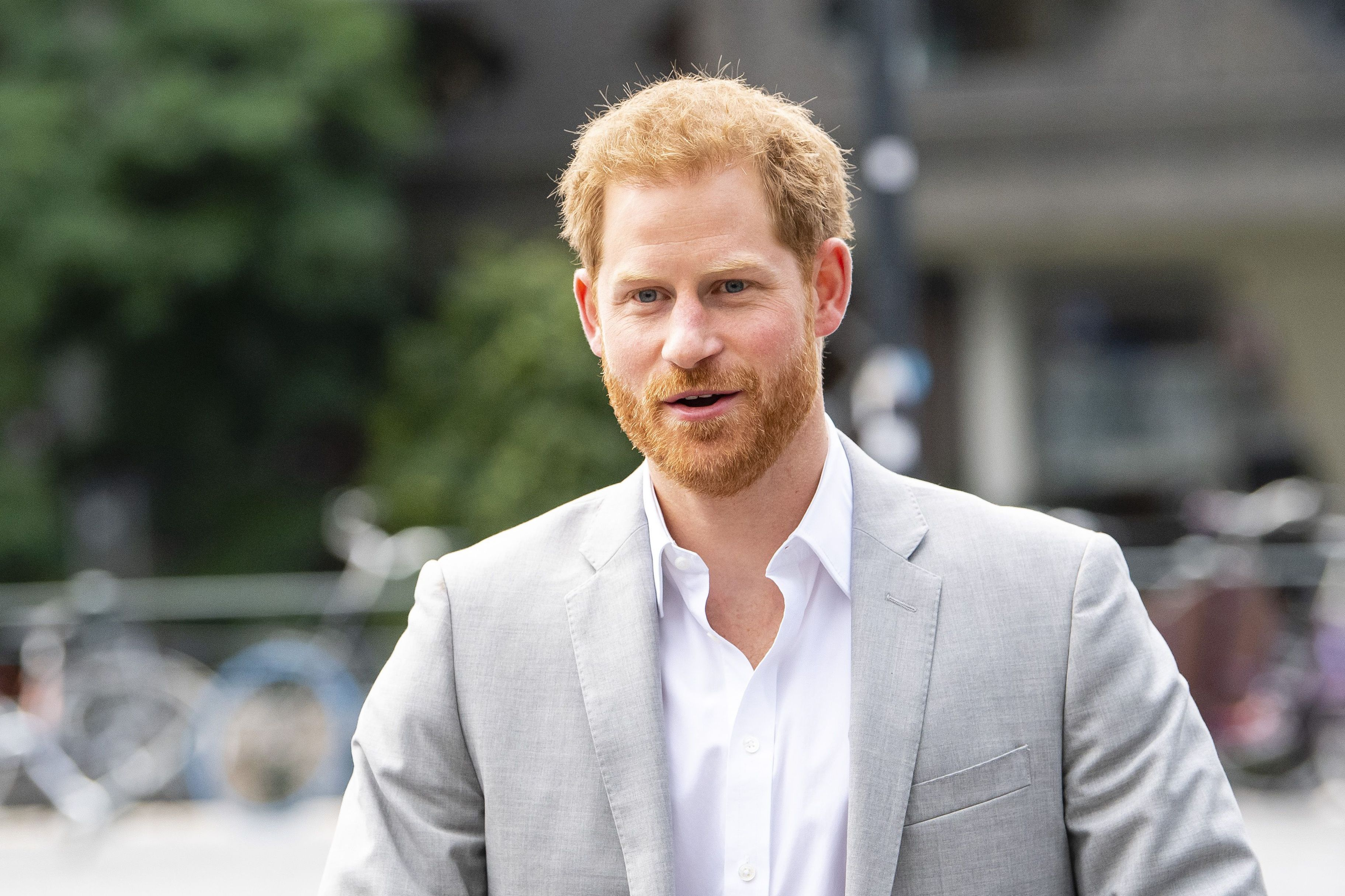 Prince Harry arrives at the ADAM Tower, in Amsterdam, on September 3, 2019, for the introduction of a project and global partnership between Booking.com, SkyScanner, CTrip, TripAdvisor and Visa, an initiative led by the Duke of Sussex to change the travel industry to better protect tourist destinations and communities that depend on it. (Photo by Frank van Beek / ANP / AFP) / Netherlands OUT        (Photo credit should read FRANK VAN BEEK/AFP/Getty Images)
