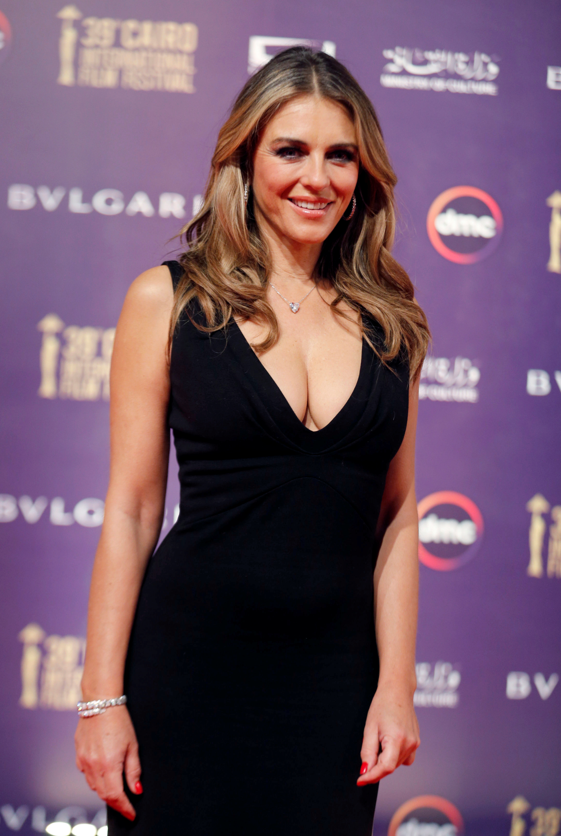 British actor Elizabeth Hurley poses during the opening of the 39th Cairo International Film Festival in Cairo, Egypt November 21, 2017. REUTERS/Amr Abdallah Dalsh