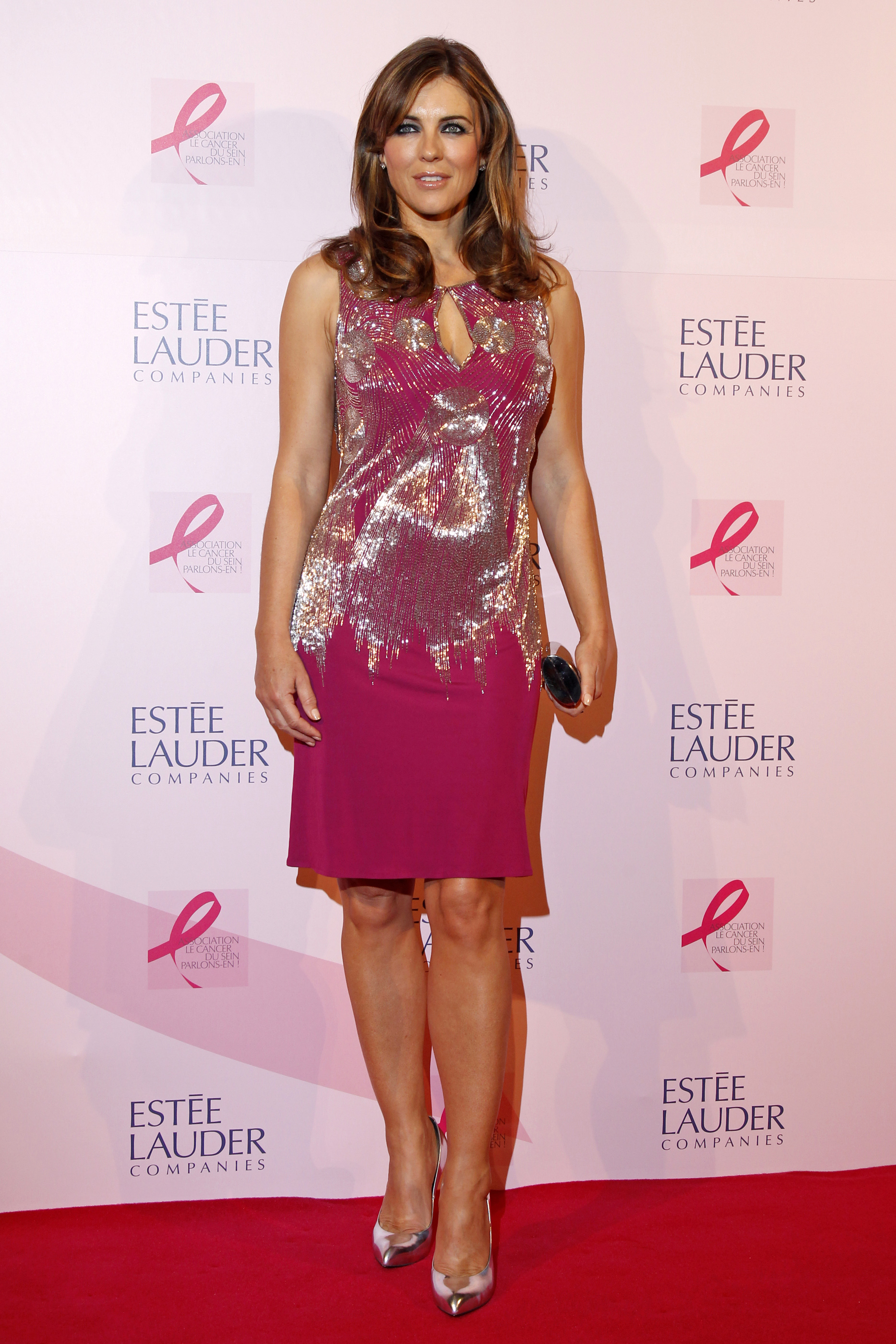Actress and model Elizabeth Hurley attends a photocall during the 20th anniversary of the Estee Lauder companies' Breast Cancer Awareness campaign in Paris October 10, 2012.  REUTERS/Benoit Tessier (FRANCE - Tags: HEALTH ENTERTAINMENT)