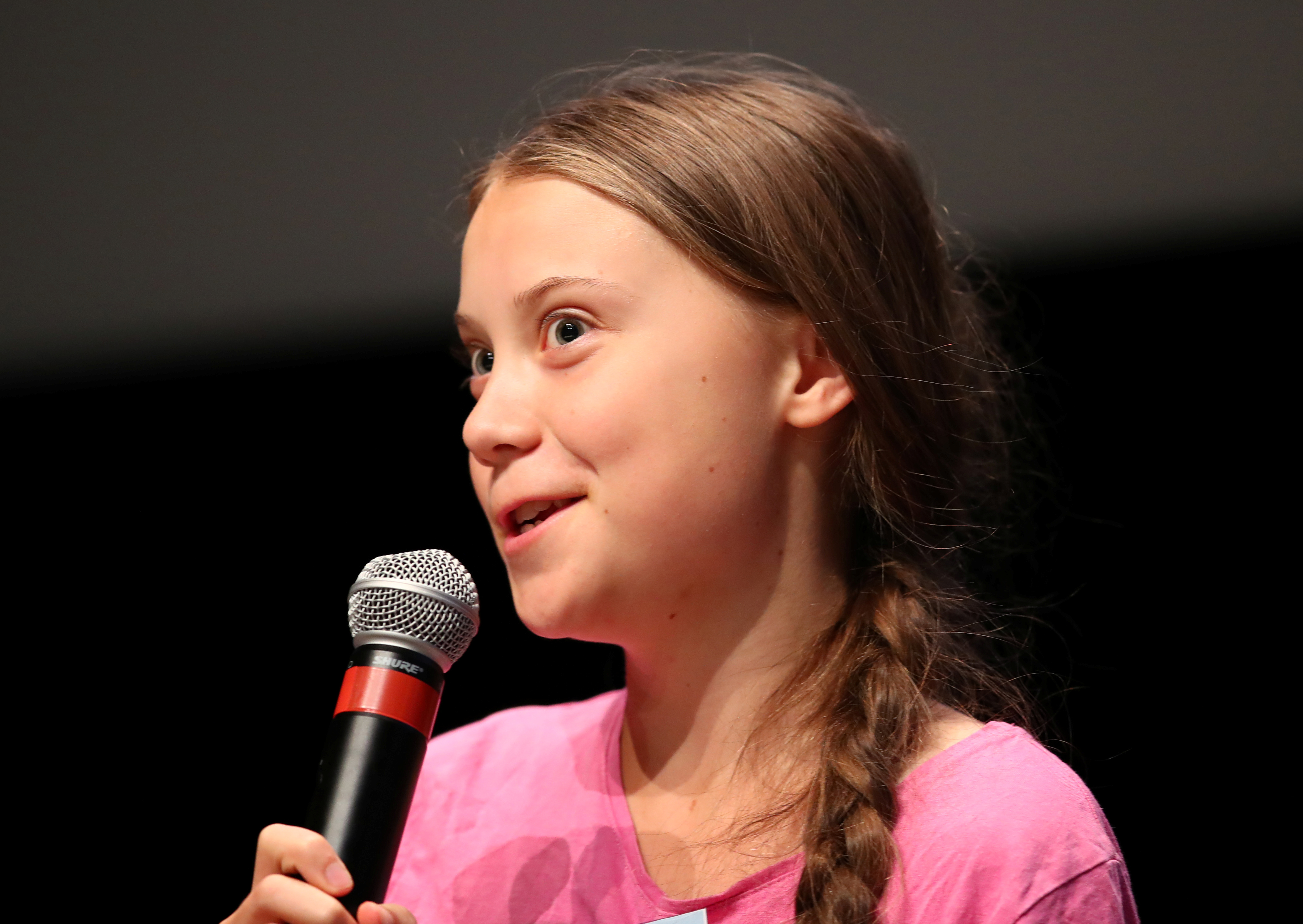 Swedish teenage climate activist Greta Thunberg attends a news conference  at the SMILE meeting (Summer Meeting In Lausanne Europe), with other young climate strike activists from 37 European countries of the FridaysforFuture movement in Lausanne, Switzerland, August 5, 2019. REUTERS/Denis Balibouse