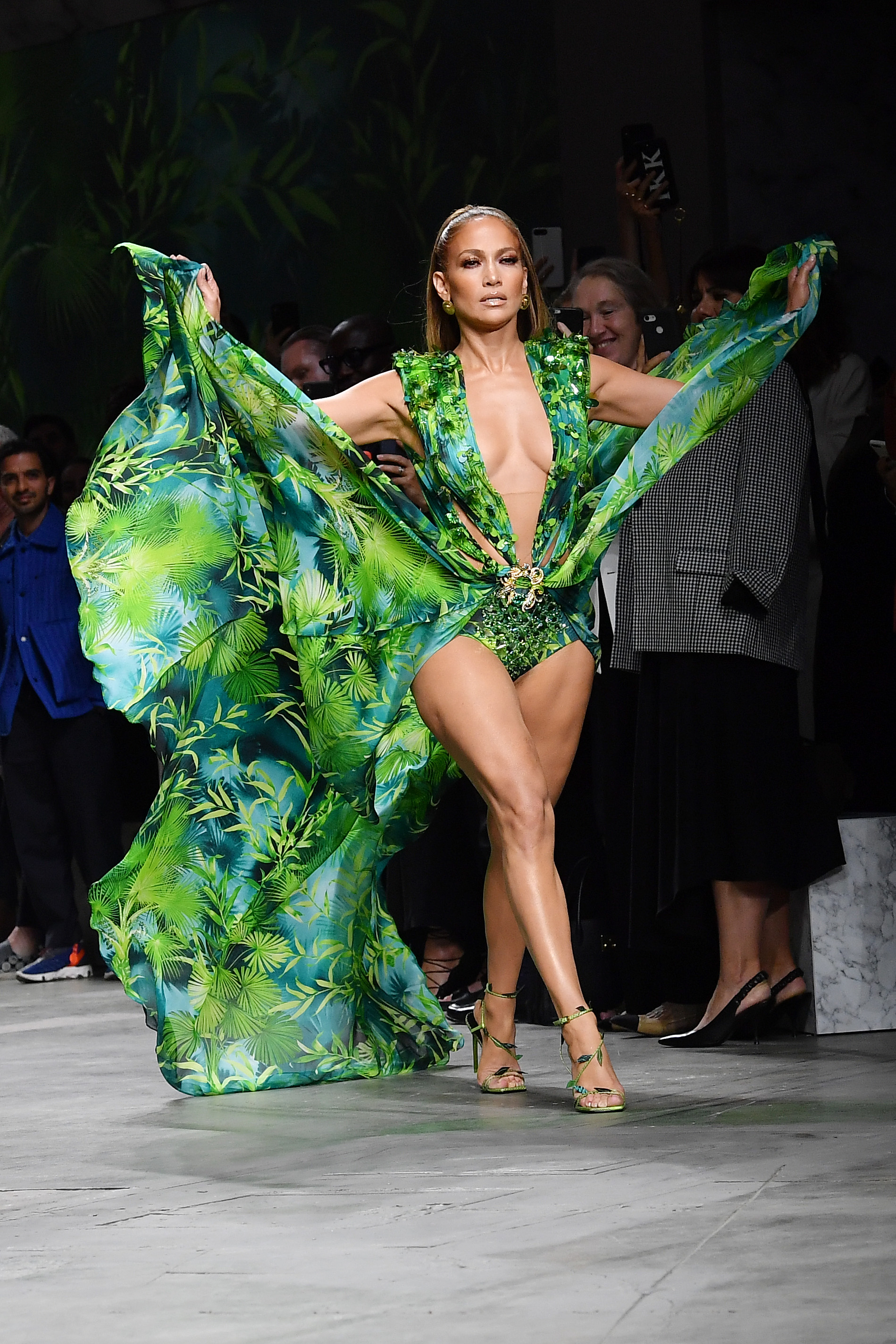MILAN, ITALY - SEPTEMBER 20: Jennifer Lopez walks the runway at the Versace show during the Milan Fashion Week Spring/Summer 2020 on September 20, 2019 in Milan, Italy. (Photo by Jacopo Raule/Getty Images)