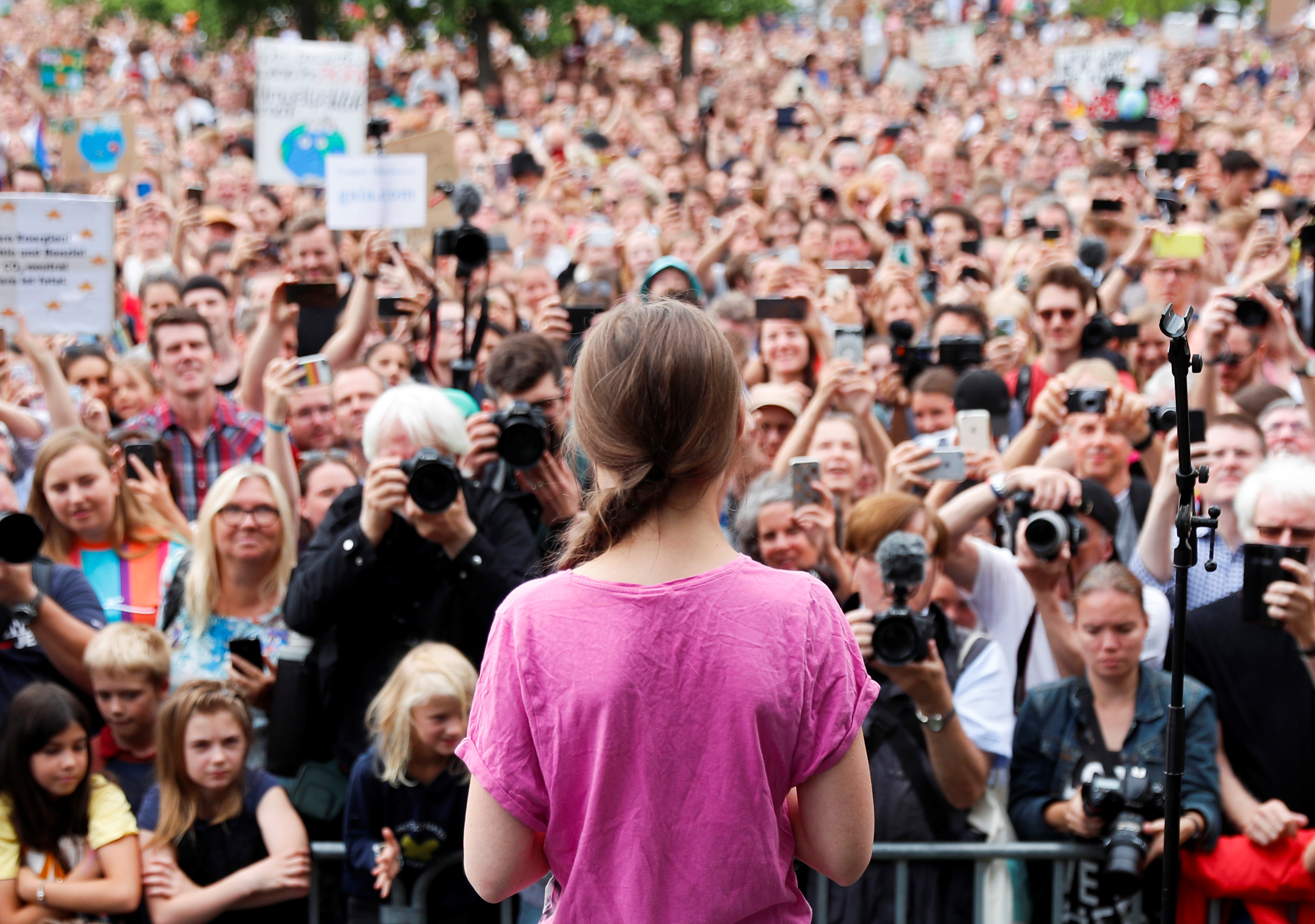 """Swedish environmental activist Greta Thunberg attends """"Fridays for Future"""" protest, claiming for urgent measures to combat climate change, in Berlin, Germany, July 19, 2019. REUTERS/Fabrizio Bensch"""