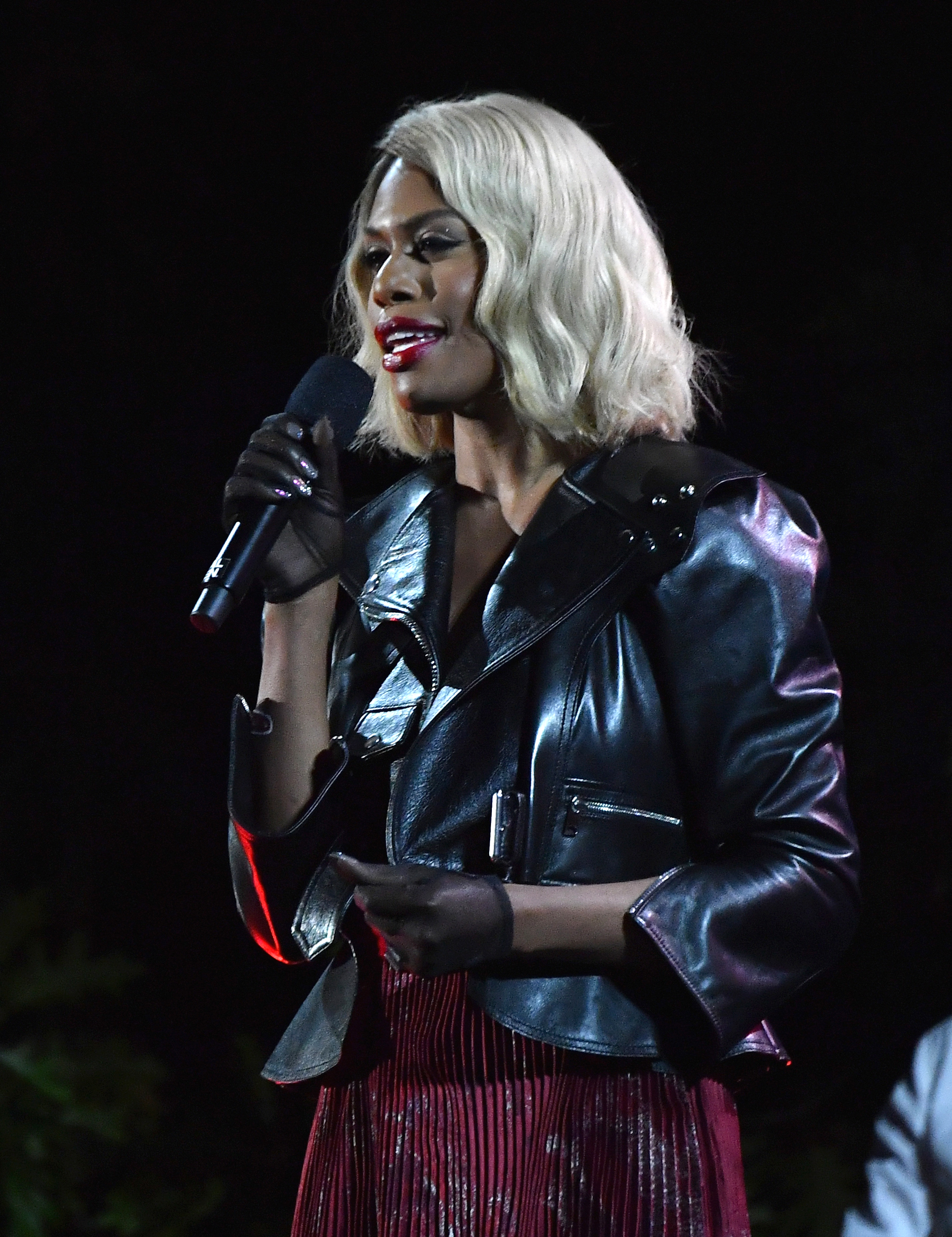 US actress Laverne Cox speaks onstage at the 2019 Global Citizen Festival: Power The Movement in Central Park in New York on September 28, 2019. (Photo by Angela Weiss / AFP)        (Photo credit should read ANGELA WEISS/AFP/Getty Images)