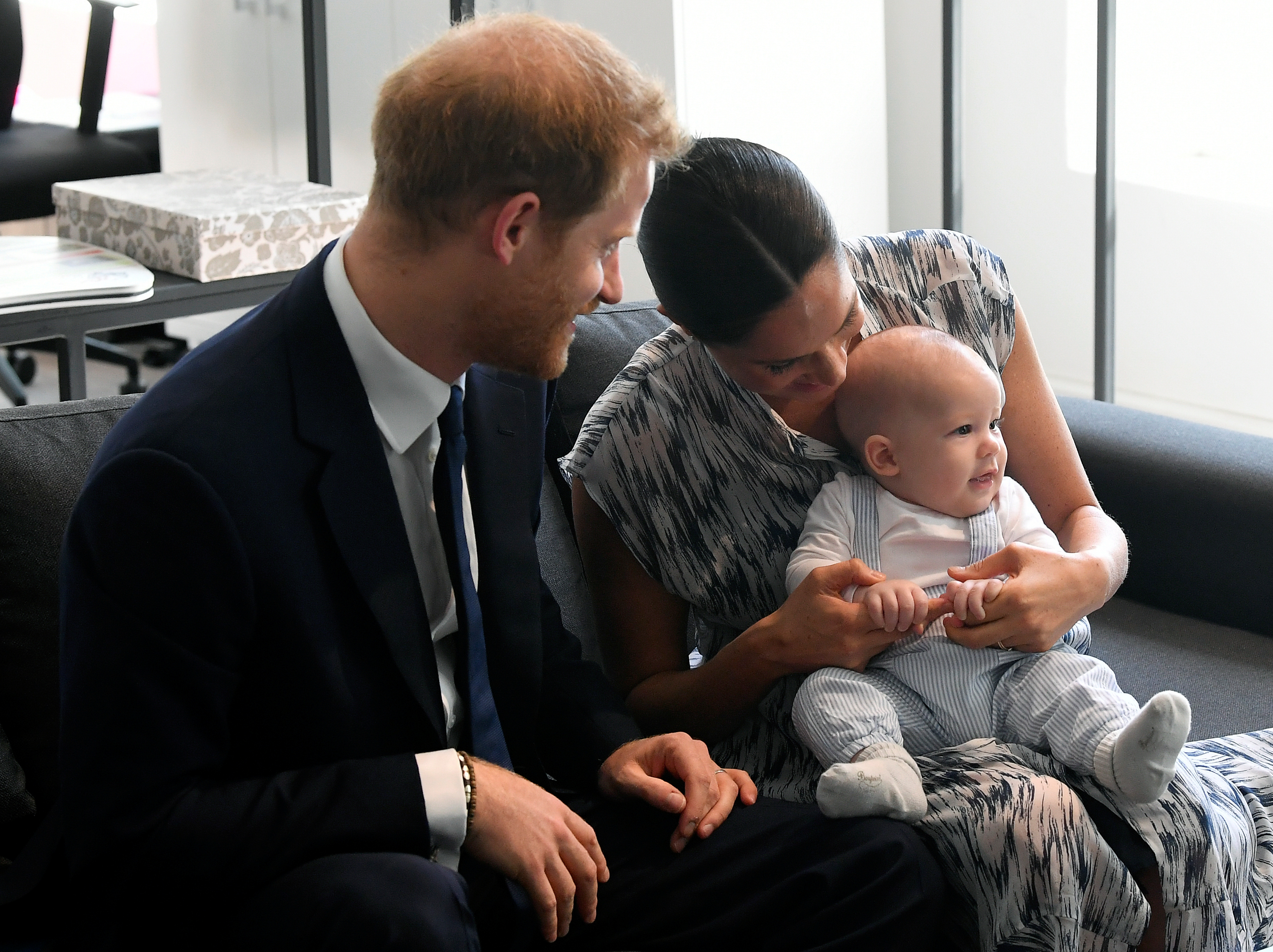 The Duke and Duchess of Sussex holding their son Archie meet with Archbishop Desmond Tutu and Mrs Tutu at their legacy foundation in cape Town, on day three of their tour of Africa.