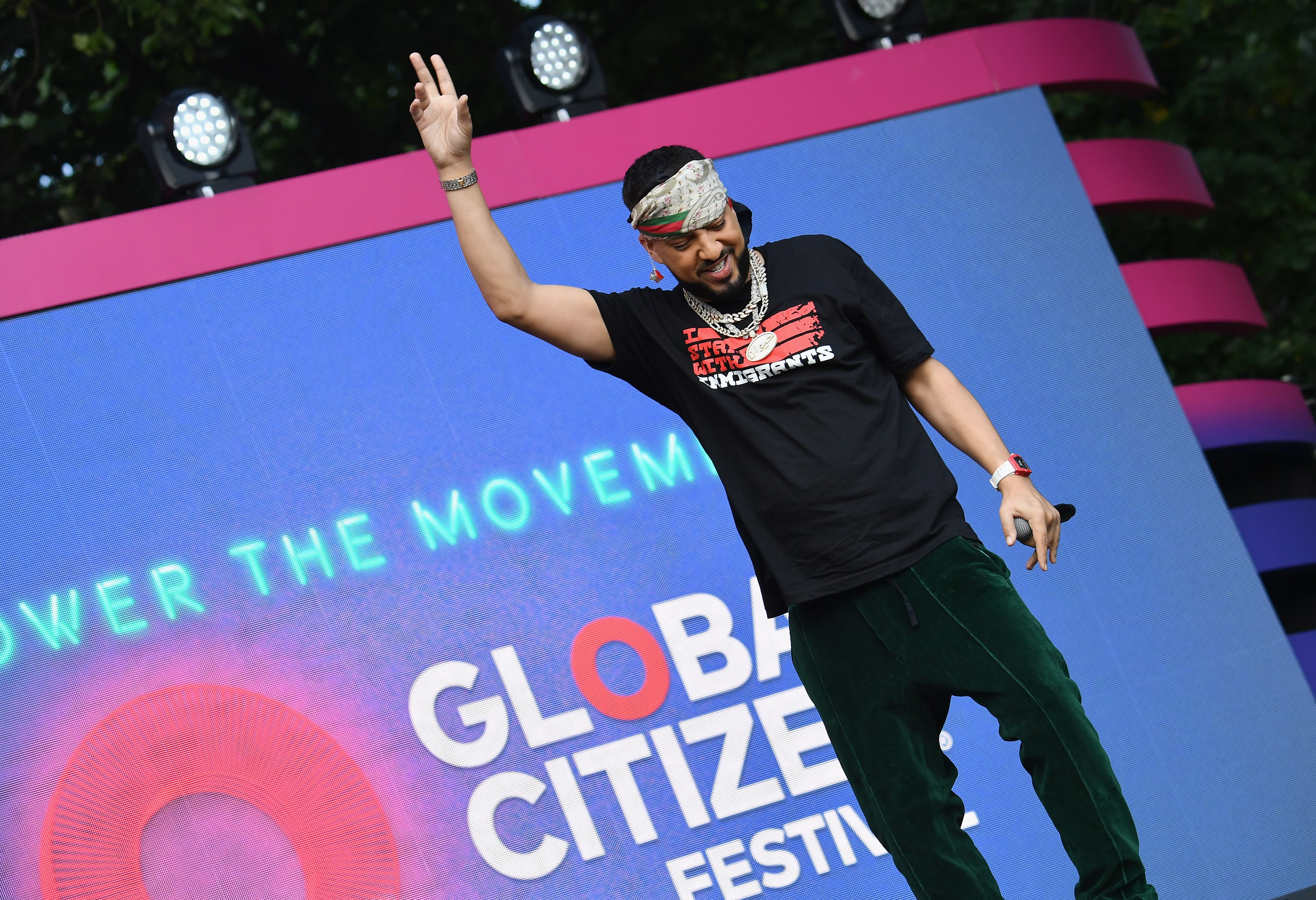 US rapper French Montana performs onstage at the 2019 Global Citizen Festival: Power The Movement in Central Park in New York on September 28, 2019. (Photo by Angela Weiss / AFP)        (Photo credit should read ANGELA WEISS/AFP/Getty Images)