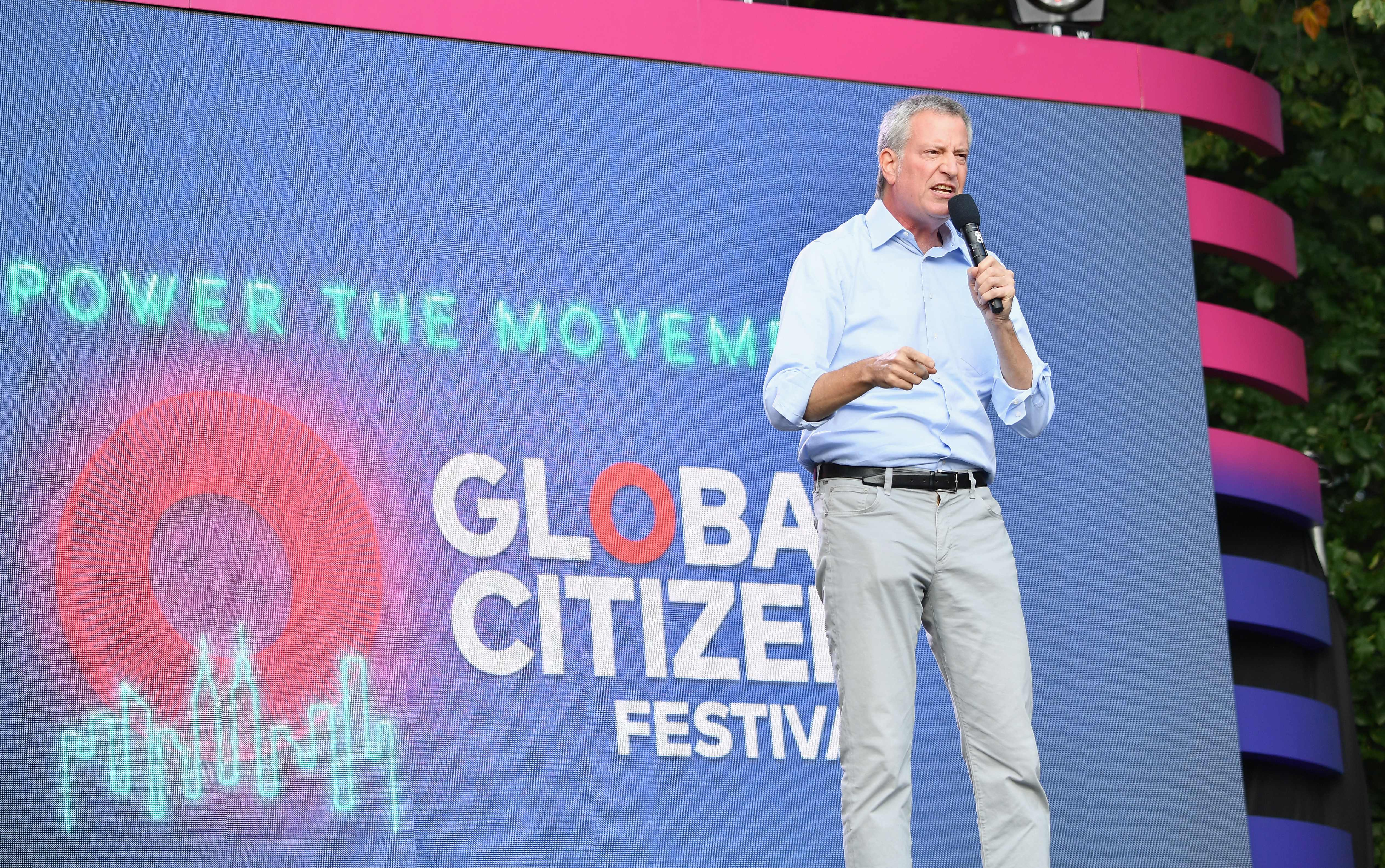 Mayor of New York City Bill de Blasio speaks onstage at the 2019 Global Citizen Festival: Power The Movement in Central Park in New York on September 28, 2019. (Photo by Angela Weiss / AFP)        (Photo credit should read ANGELA WEISS/AFP/Getty Images)