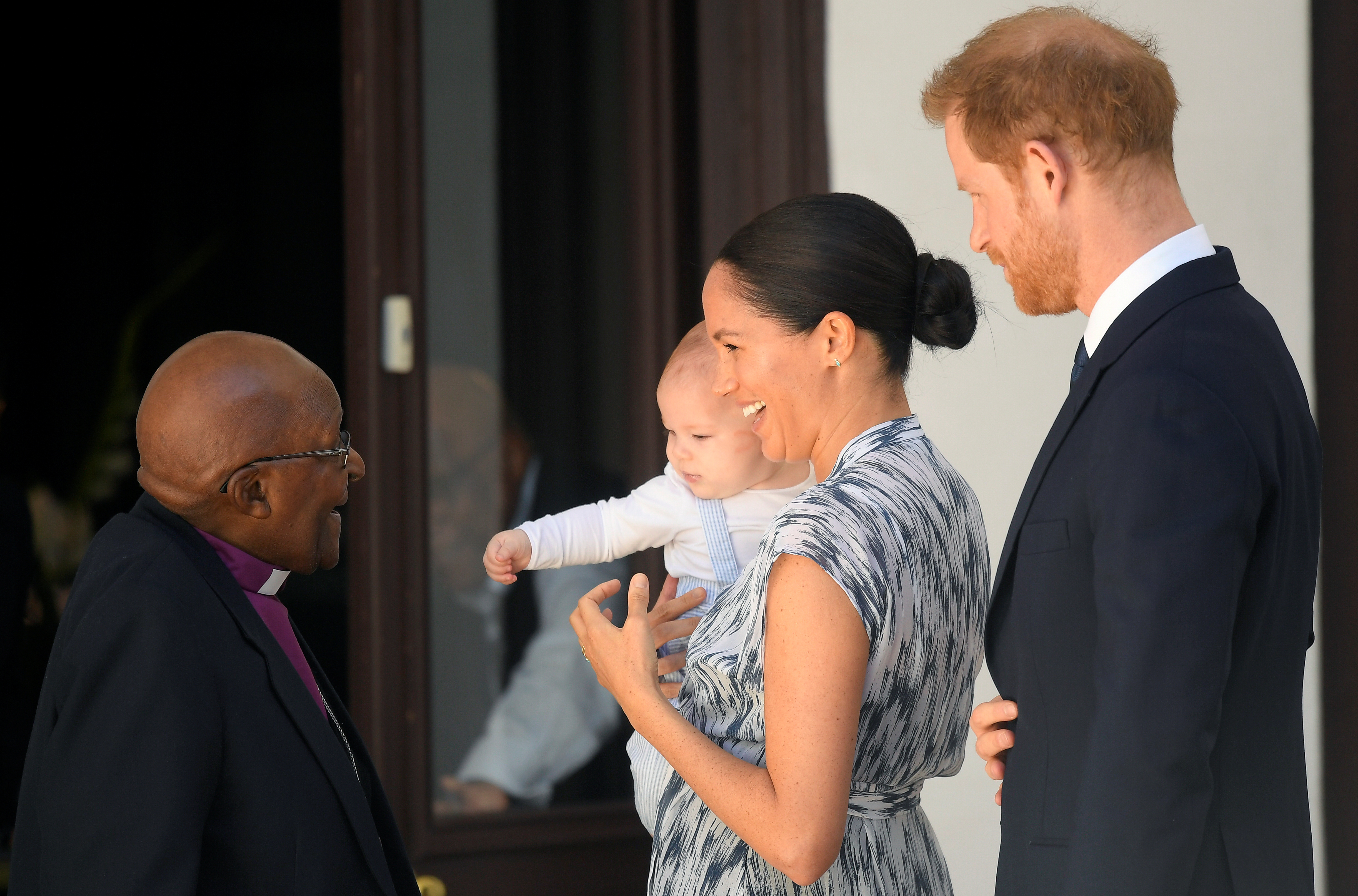 The Duke and Duchess of Sussex along with their son Archie meet with Archbishop Desmond Tutu and Mrs Tutu at their legacy foundation in cape Town, on day three of their tour of Africa.