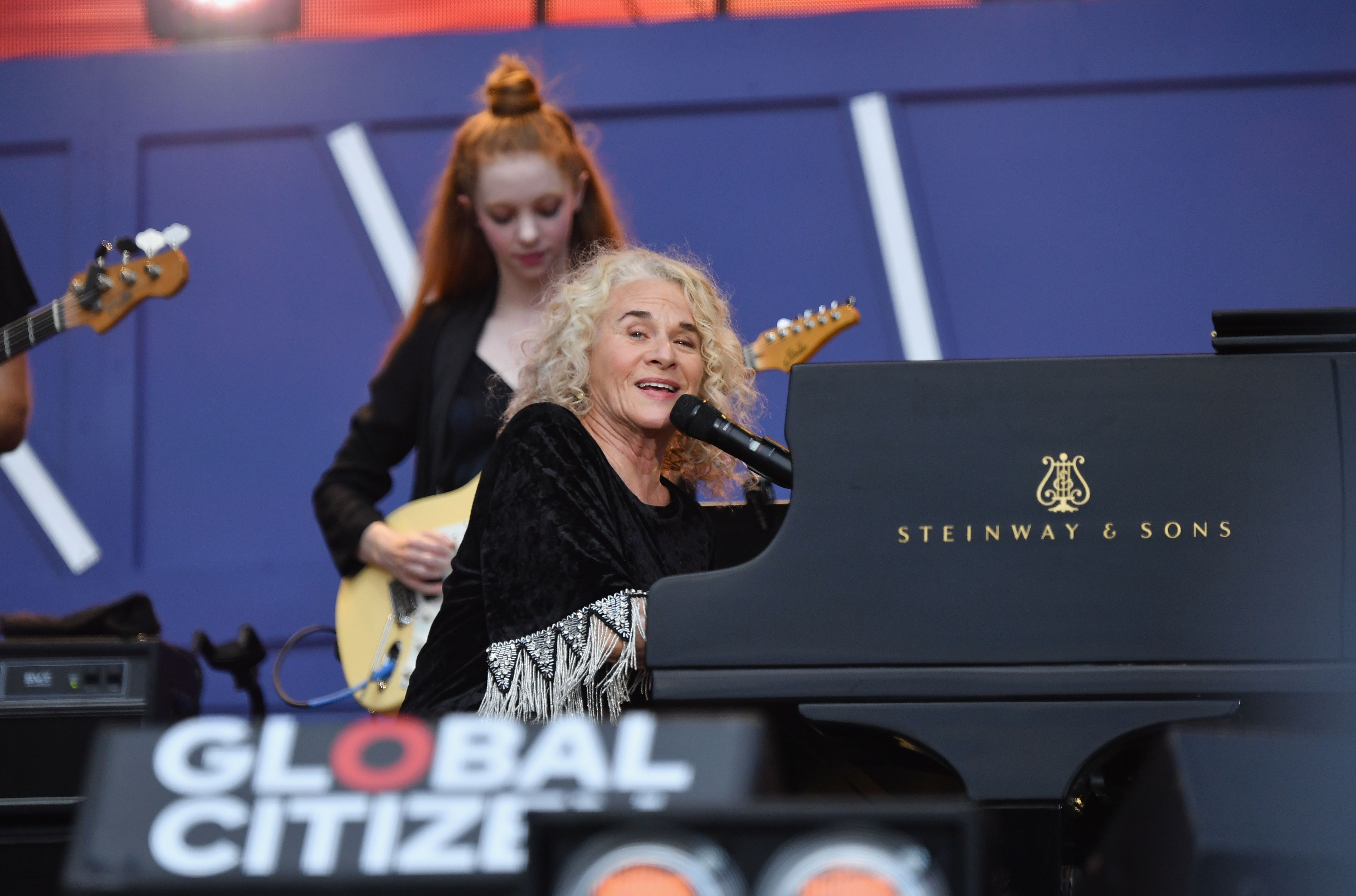 US singer Carole King performs onstage at the 2019 Global Citizen Festival: Power The Movement in Central Park in New York on September 28, 2019. (Photo by Angela Weiss / AFP)        (Photo credit should read ANGELA WEISS/AFP/Getty Images)
