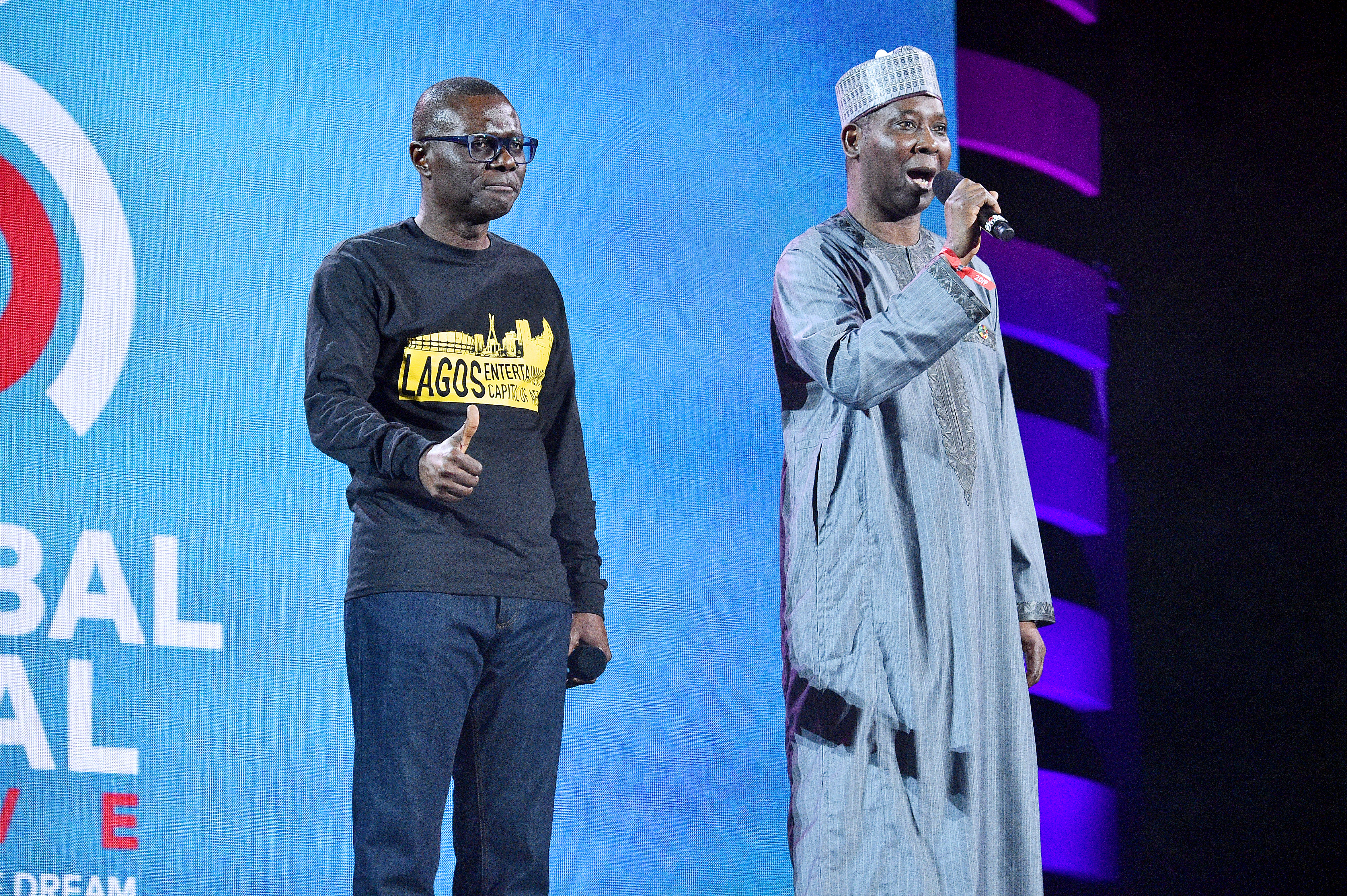 NEW YORK, NEW YORK - SEPTEMBER 28: Governor of Lagos State Babajide Sanwo-Olu and UN General Assemby 74th President Tijjani Muhammad-Bande speak onstage during the 2019 Global Citizen Festival: Power The Movement in Central Park on September 28, 2019 in New York City. (Photo by Theo Wargo/Getty Images for Global Citizen)