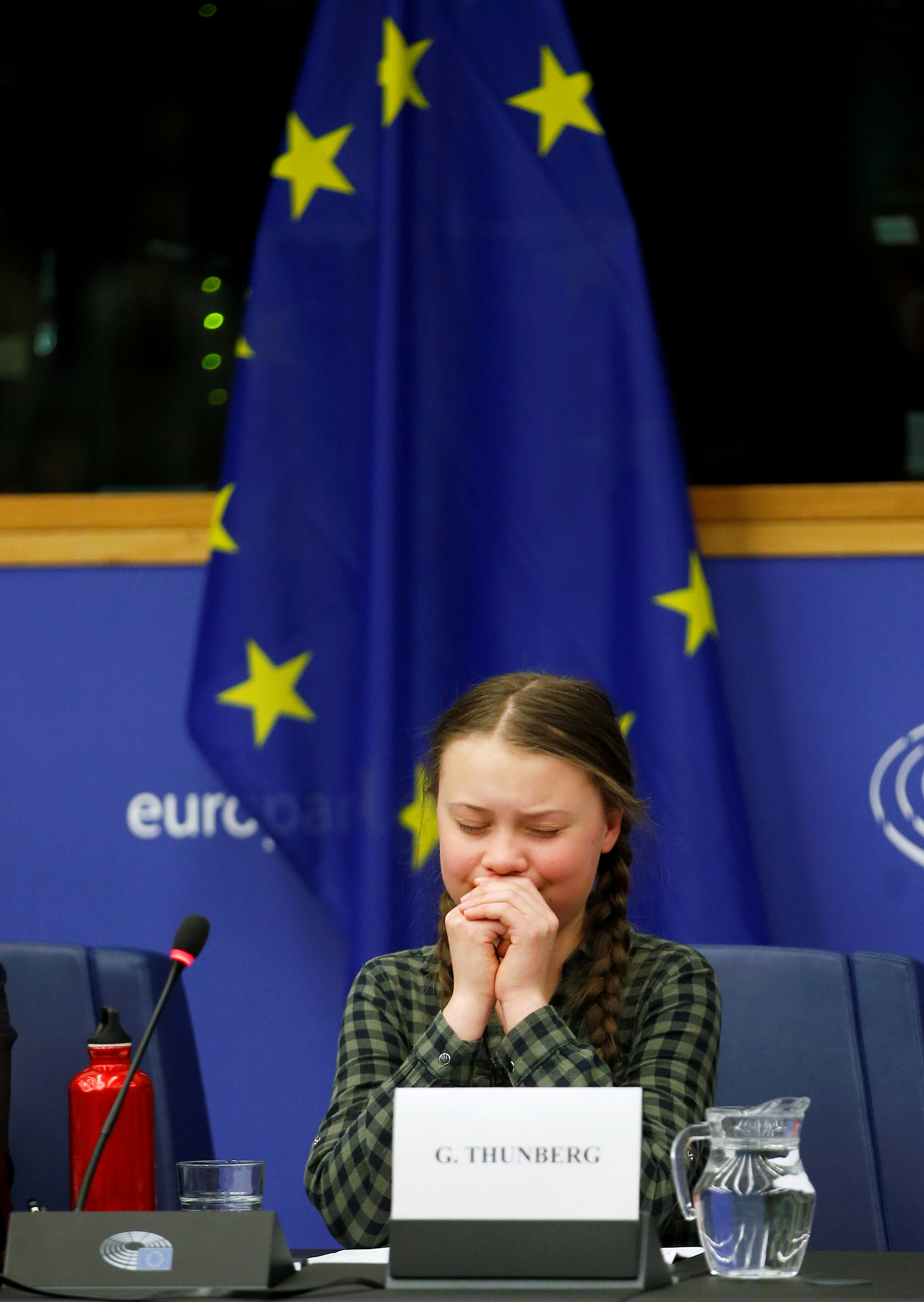 Swedish environmental activist Greta Thunberg cries at the end of her a speech to the environment committee of the European Parliament in Strasbourg, April 16, 2019.   REUTERS/Vincent Kessler