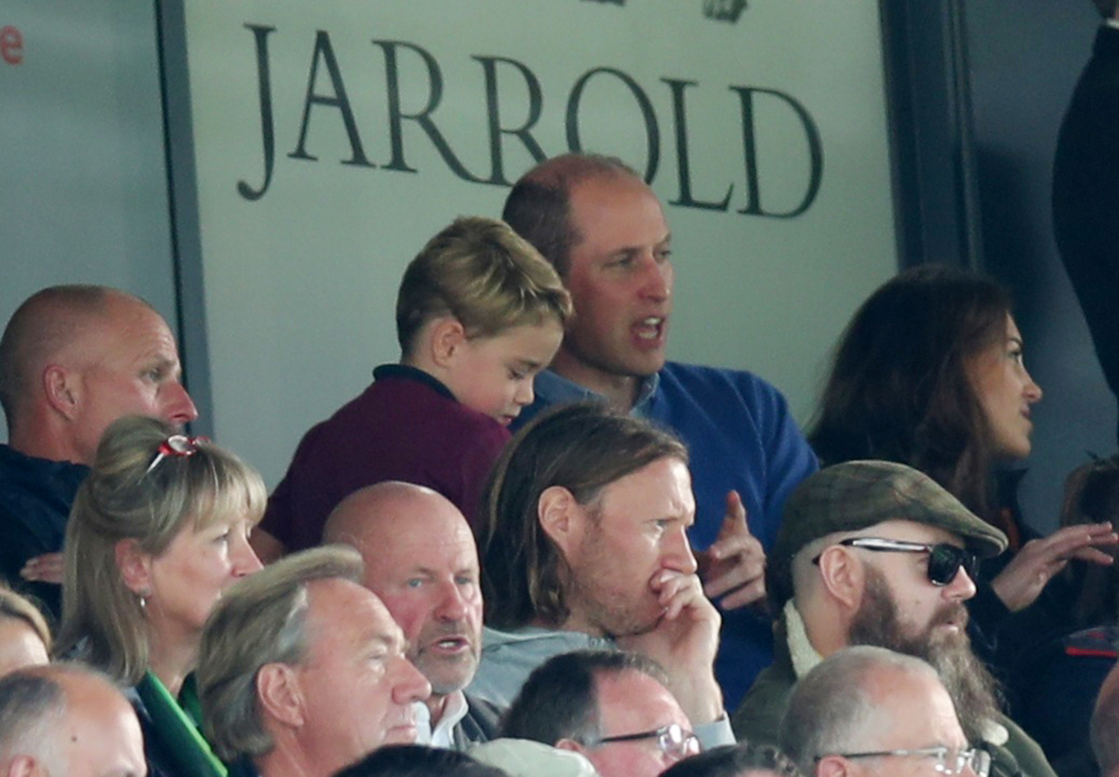 "Soccer Football - Premier League - Norwich City v Aston Villa - Carrow Road, Norwich, Britain - October 5, 2019  Britain's Prince William and Prince George in the stands during the match   Villa's Conor Hourihane REUTERS/Chris Radburn  EDITORIAL USE ONLY. No use with unauthorized audio, video, data, fixture lists, club/league logos or ""live"" services. Online in-match use limited to 75 images, no video emulation. No use in betting, games or single club/league/player publications.  Please contact your account representative for further details."