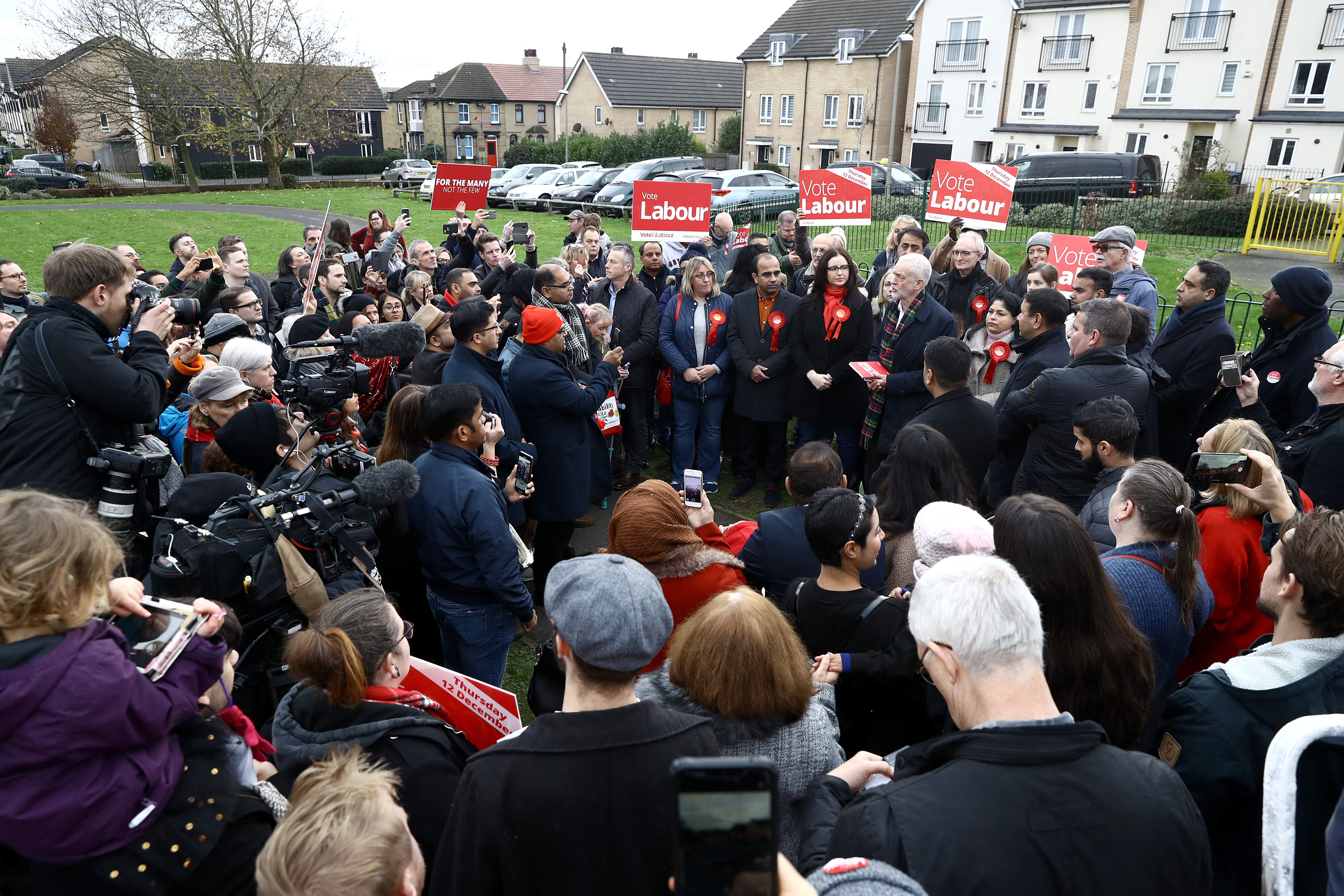 Labour Party leader Jeremy Corbyn, holds his party's manifesto as he speaks to supporters during a visit to Thurrock in Essex whilst on the General Election campaign trail.