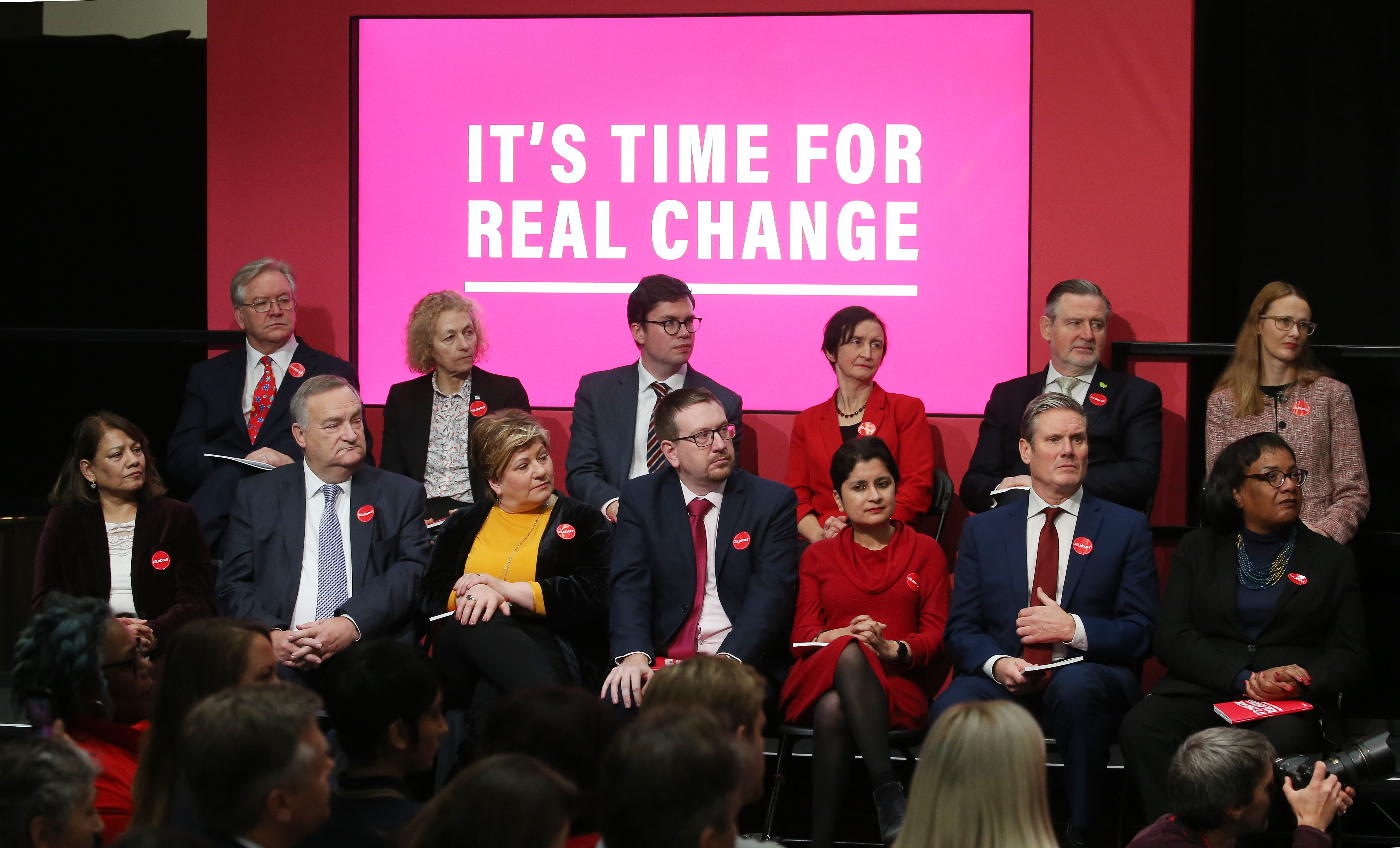 The shadow cabinet listen to Jeremy Corbyn during the launch of the Labour Party manifesto in Birmingham for the General Election. Picture dated: Thursday November 21, 2019.