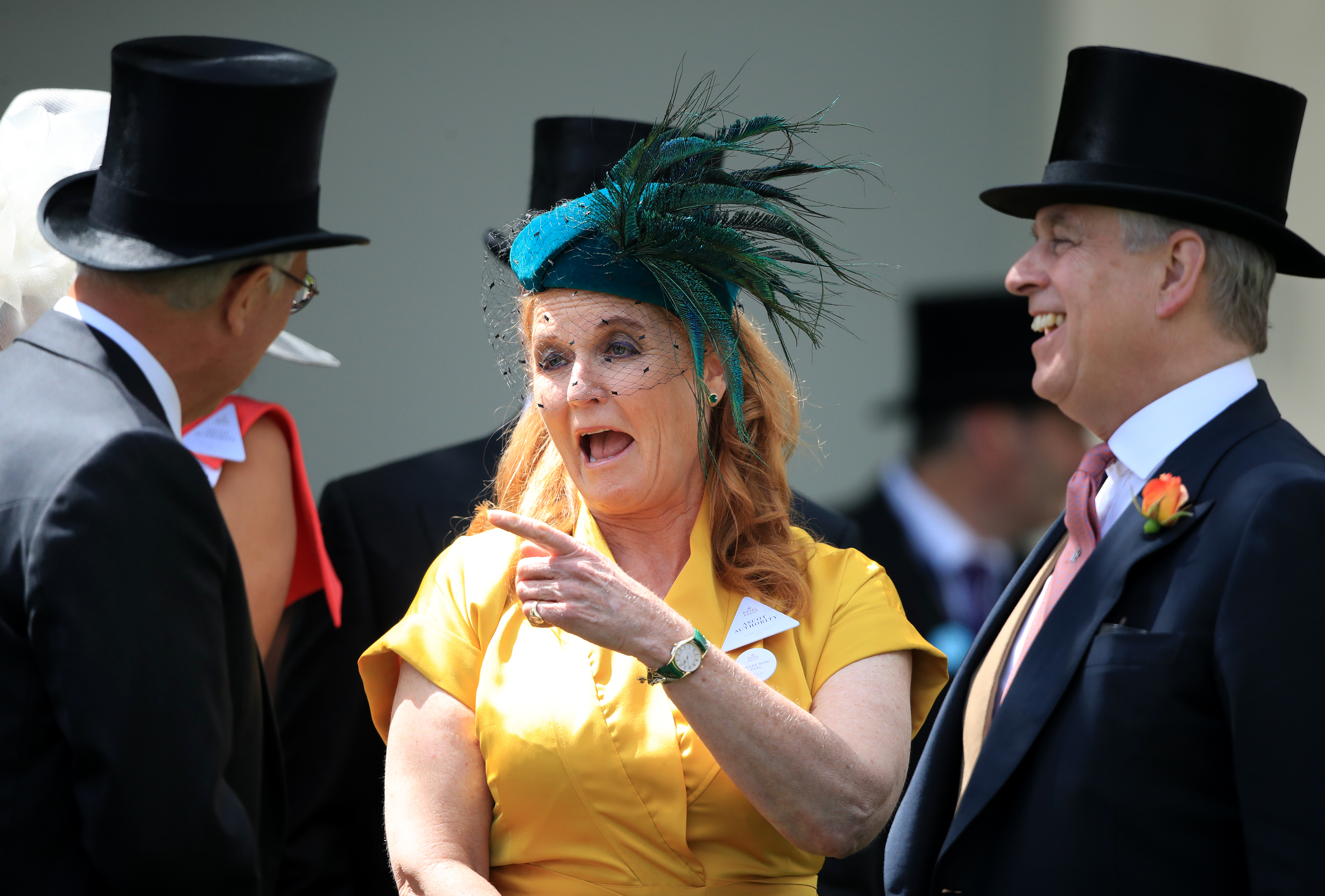 Sarah, Duchess of York and The Duke of York arriving during day four of Royal Ascot at Ascot Racecourse.