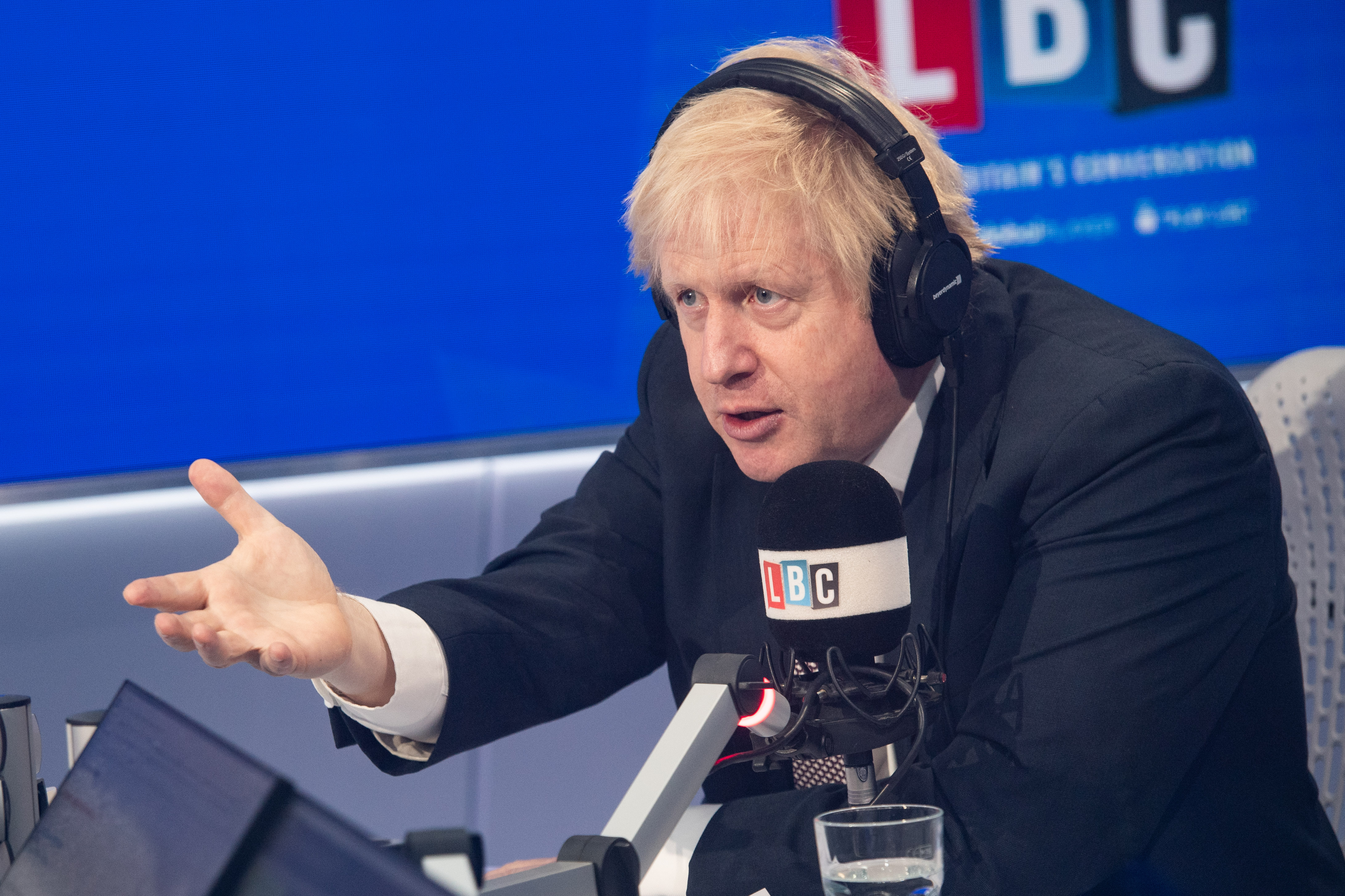Prime Minister Boris Johnson takes part in a  live phone in on LBC, hosted by breakfast presenter Nick Ferrari, at their studios in central London .Picture date: Friday November 29, 2019. Photo credit should read: Matt Crossick/Empics