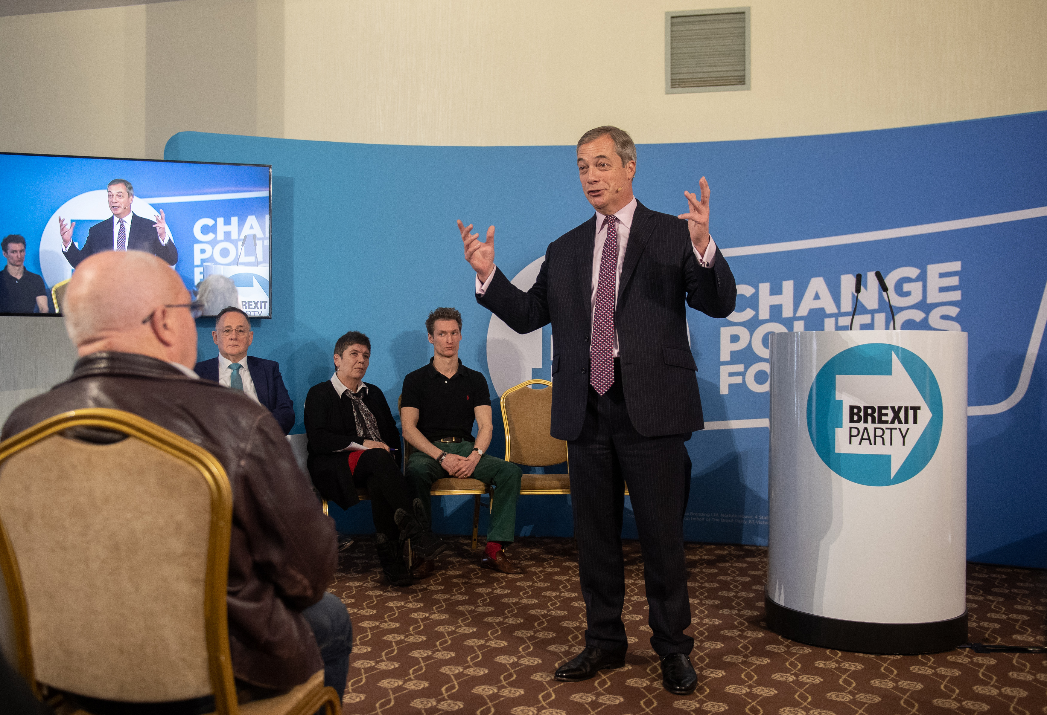 Brexit Party leader Nigel Farage during a party rally at the Great Northern Hotel, in Peterborough, Cambridgeshire, while on the campaign trail ahead of the General Election. PA Photo. Picture date: Tuesday November 19, 2019. See PA story POLITICS Election. Photo credit should read: Joe Giddens/PA Wire