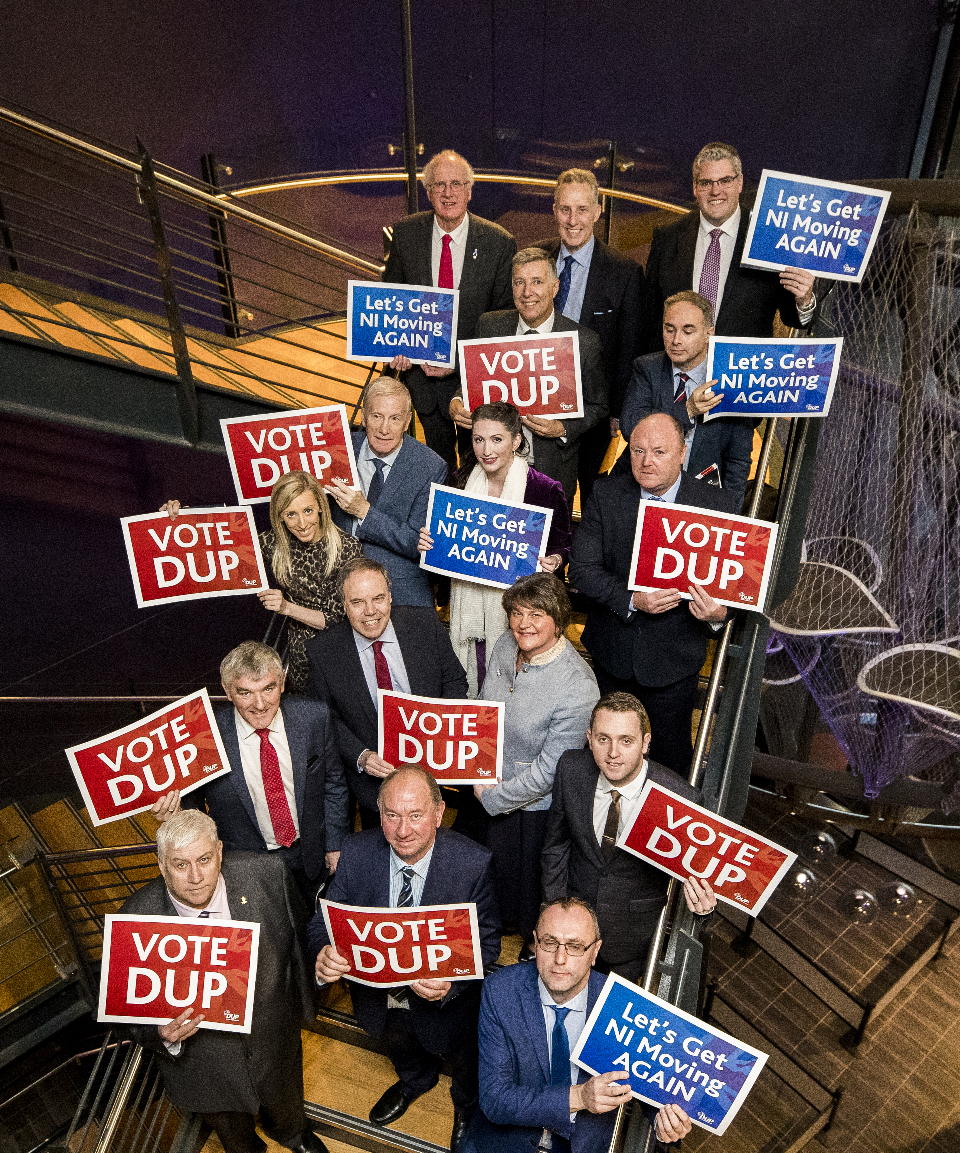 DUP leader Arlene Foster with party colleagues who are due to stand in the upcoming General Election pose after the launch of a new policy plan at W5 in Belfast.