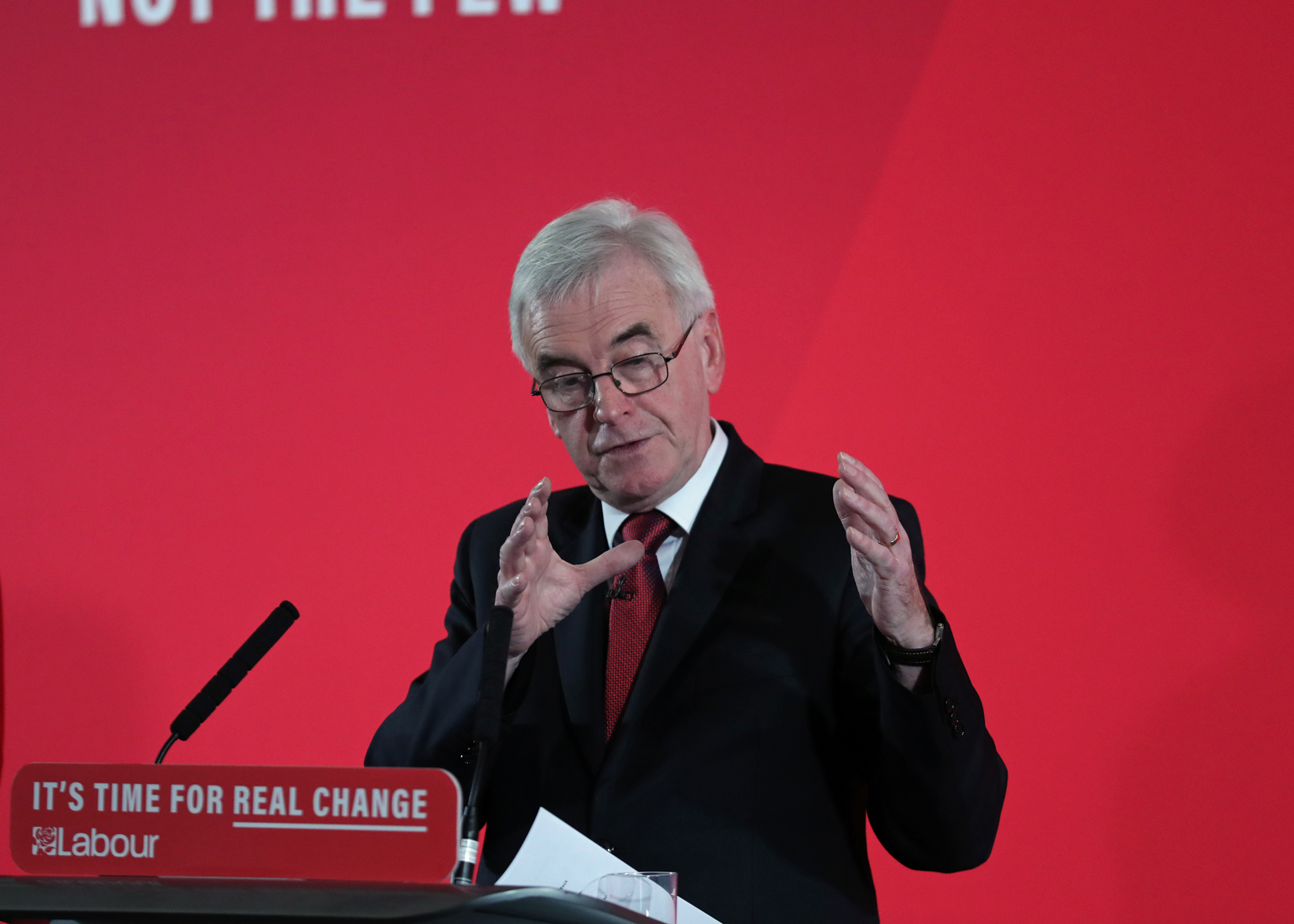 Shadow chancellor John McDonnell delivers a speech on the economy, at Church House, in Westminster, London, ahead of the General Election.