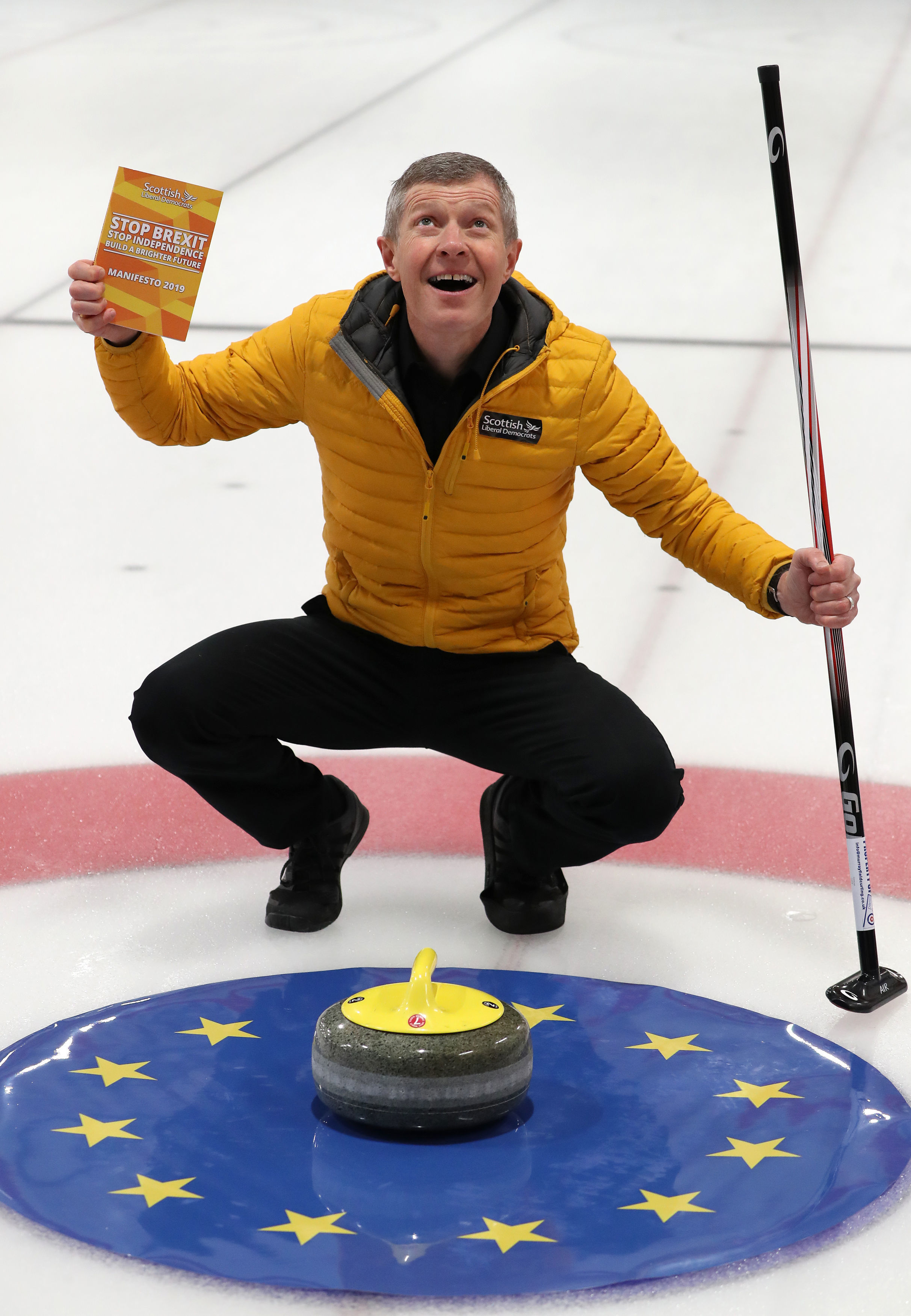 Willie Rennie holds a copy of his party's Scottish Liberal Democrat manifesto for the December 12 General Election at Murrayfield Curling Rink, Edinburgh. PA Photo. Picture date: Friday November 29, 2019. See PA story POLITICS Election. Photo credit should read: Andrew Milligan/PA Wire