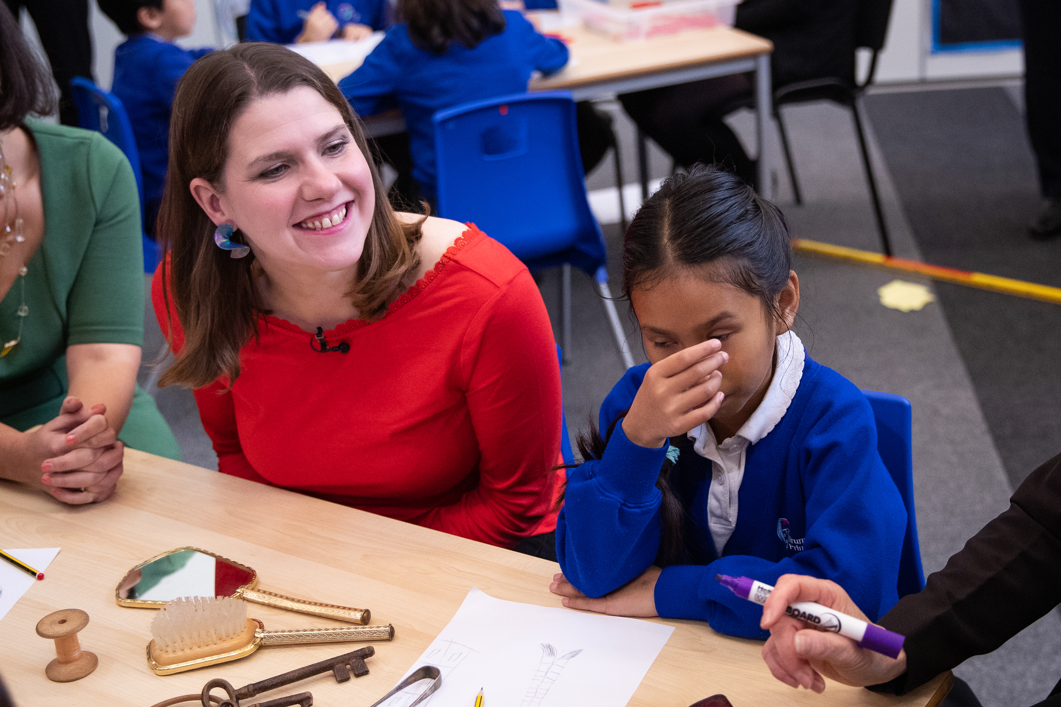 Liberal Democrats leader Jo Swinson during a visit to Trumpington Park Primary School, in Cambridge, whilst campaigning for the General Election.