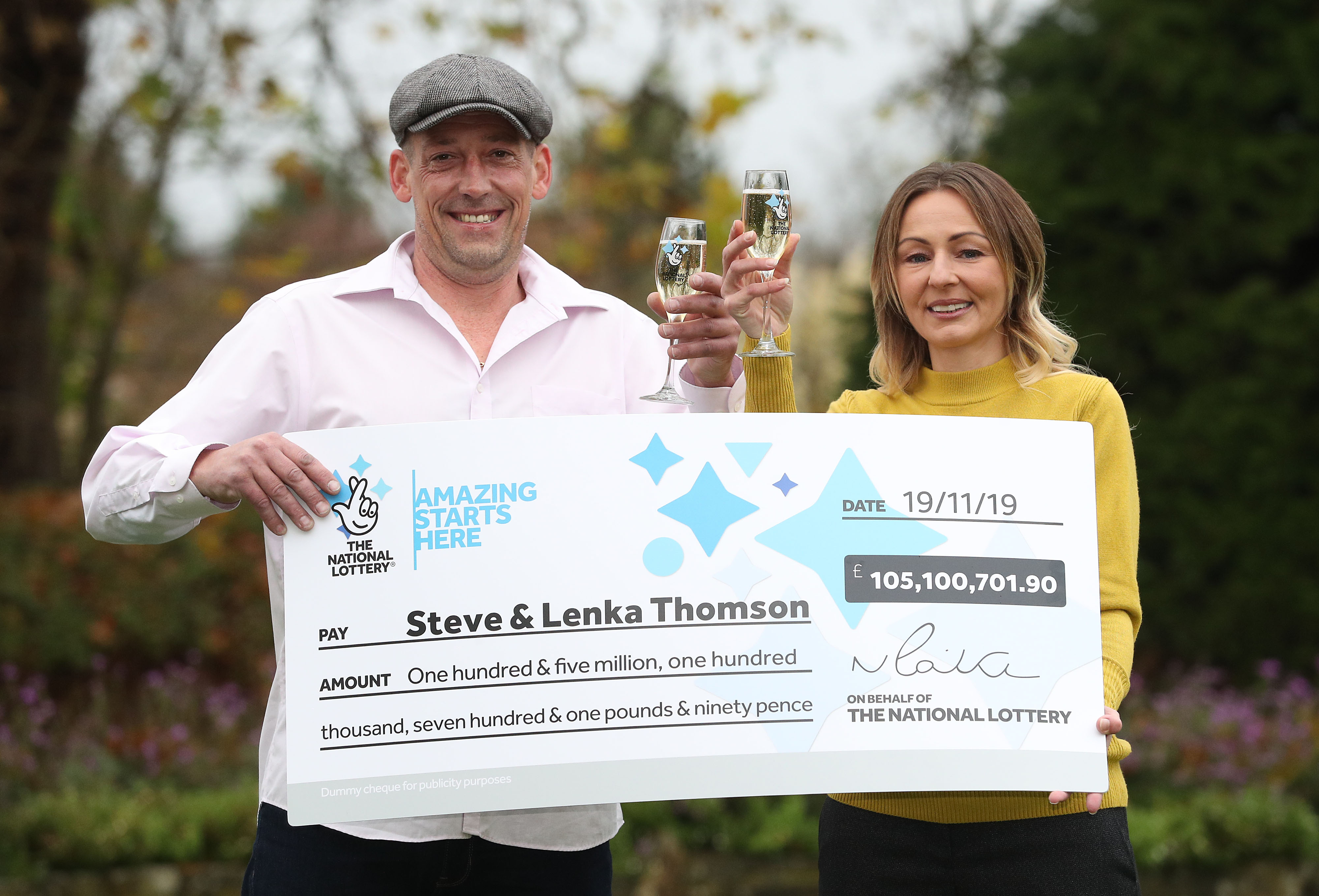 Self-employed builder Steve Thomson, 42, and his wife Lenka Thomson, 41, from Selsey, West Sussex, celebrate their �105 million EuroMillions win at the Hilton Avisford Park, Walberton, West Sussex.