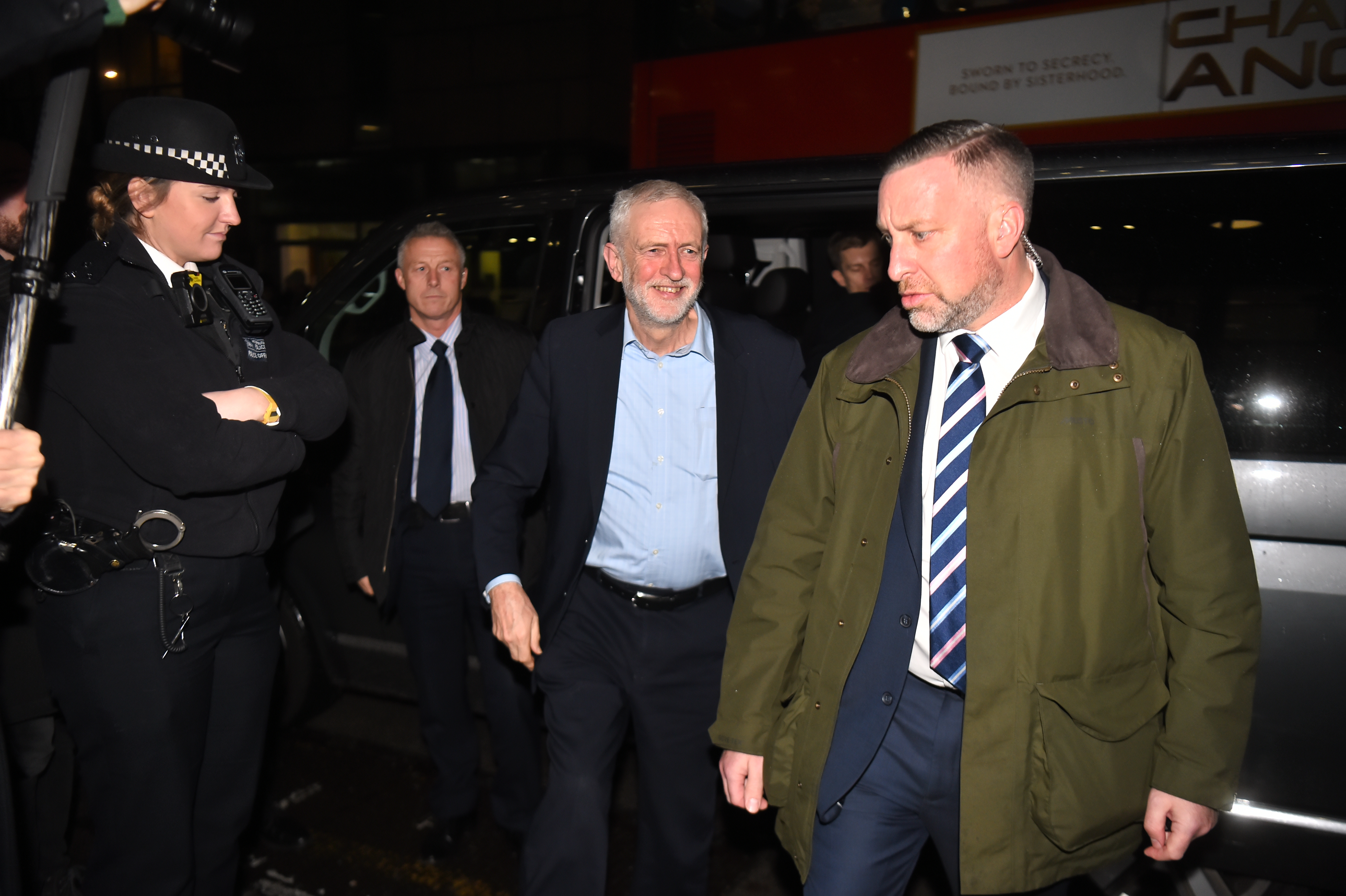 Labour leader Jeremy Corbyn (centre) arrives for Channel 4 News' General Election climate debate at ITN Studios in Holborn, central London.