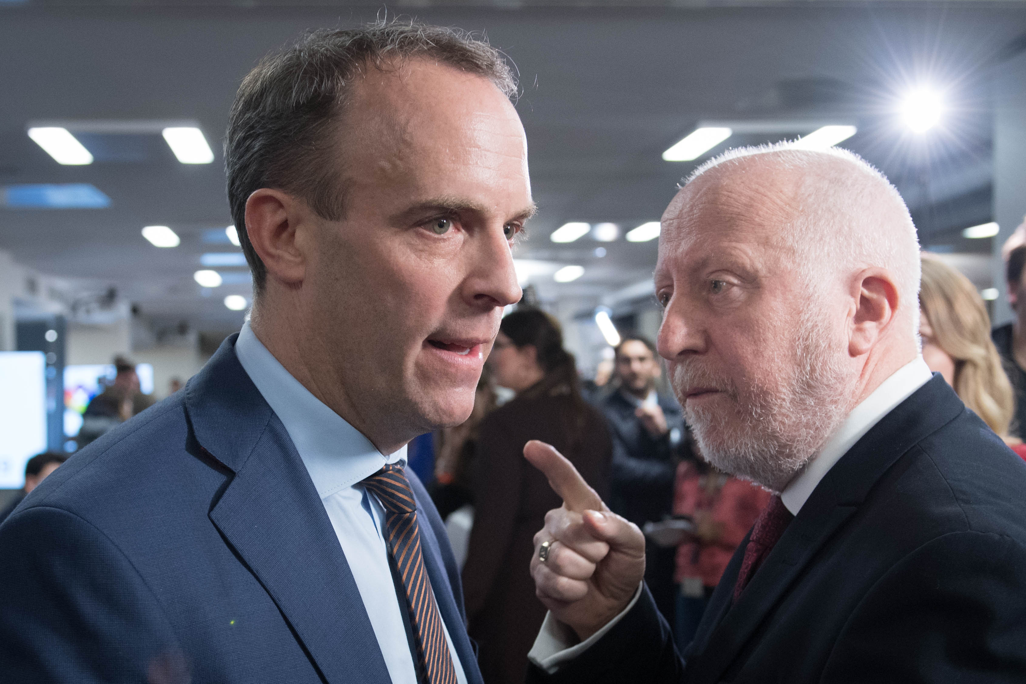 Foreign Secretary Dominic Raab (left) and shadow transport secretary Andy McDonald exchange views at the Octagon in Sheffield, South Yorkshire, after leaders of four major parties took part in the BBC Question Time Leaders' Special.