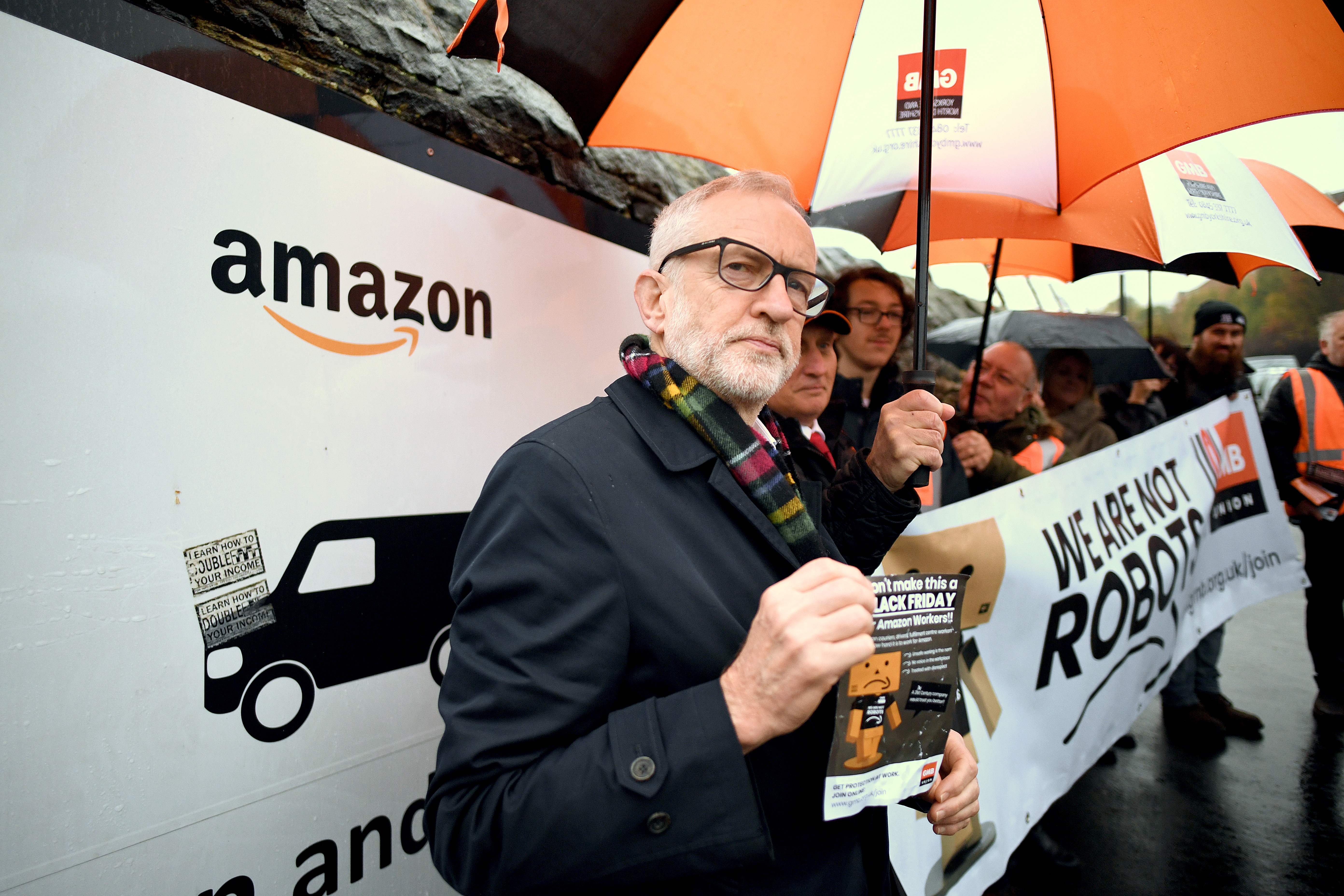 Labour Party leader Jeremy Corbyn outside an Amazon depot in Sheffield, South Yorkshire, to announce plans for a workers' rights revolution and to ensure big businesses pay their fair share of taxes.