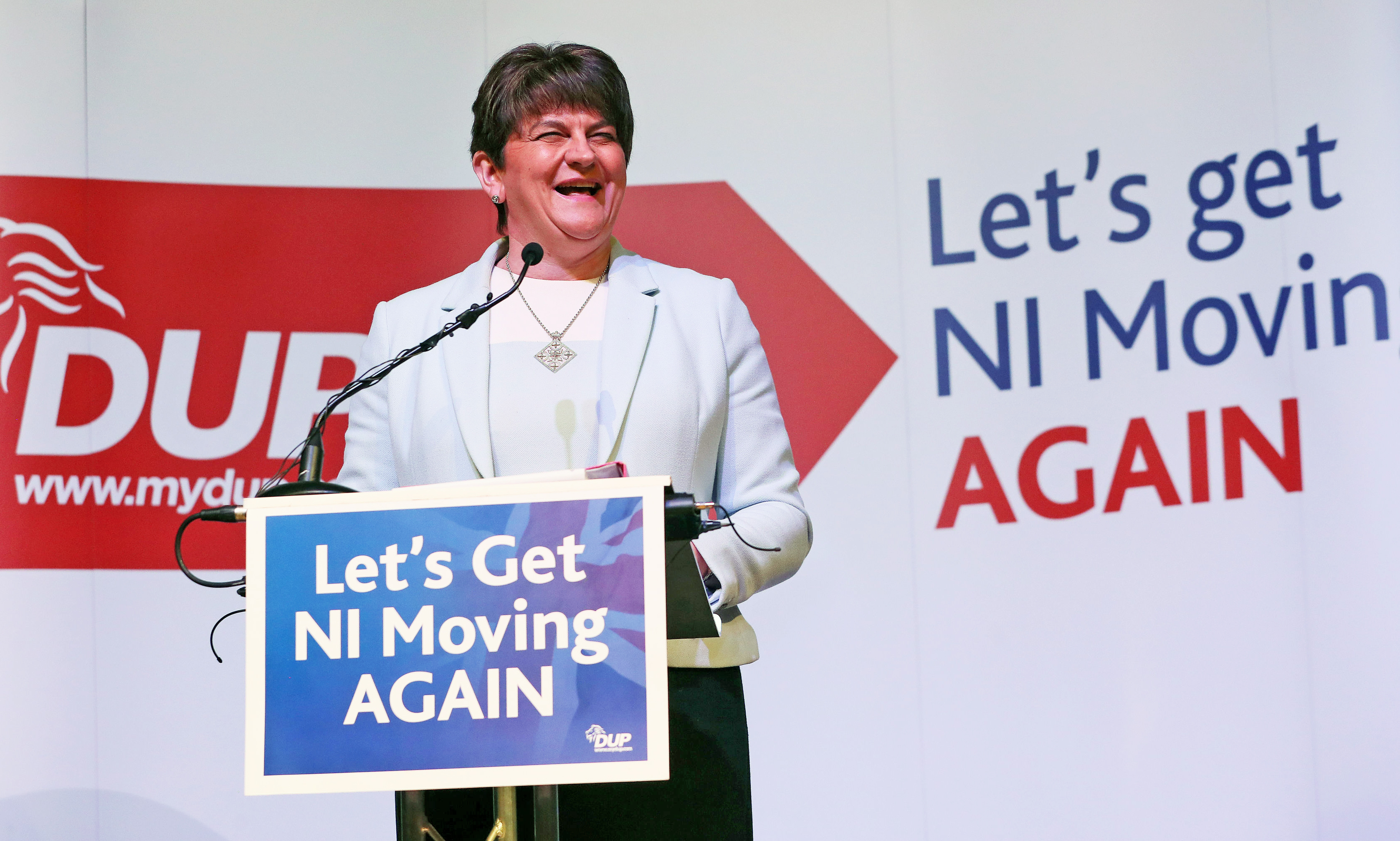 DUP leader Arlene Foster speaking at her party's General Election manifesto launch at W5 in Belfast.