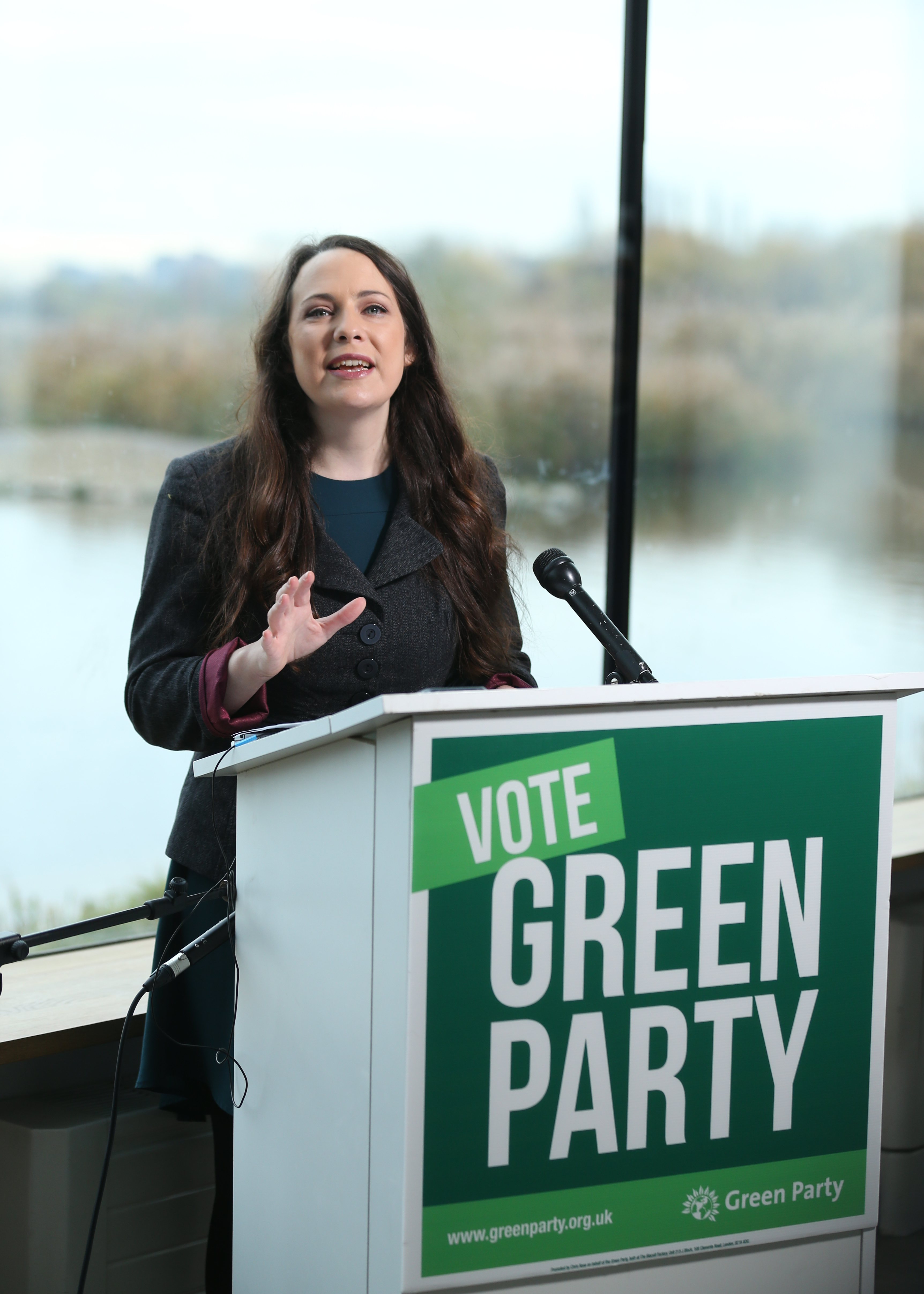 Green Party Deputy leader Amelia Womack at the Observatory, London Wetlands Centre, for the launch of the Green Party manifesto for the 2019 General Election. PA Photo. Picture date: Tuesday November 19,2019. See PA story POLITICS Election. Photo credit should read: Isabel Infantes/PA Wire