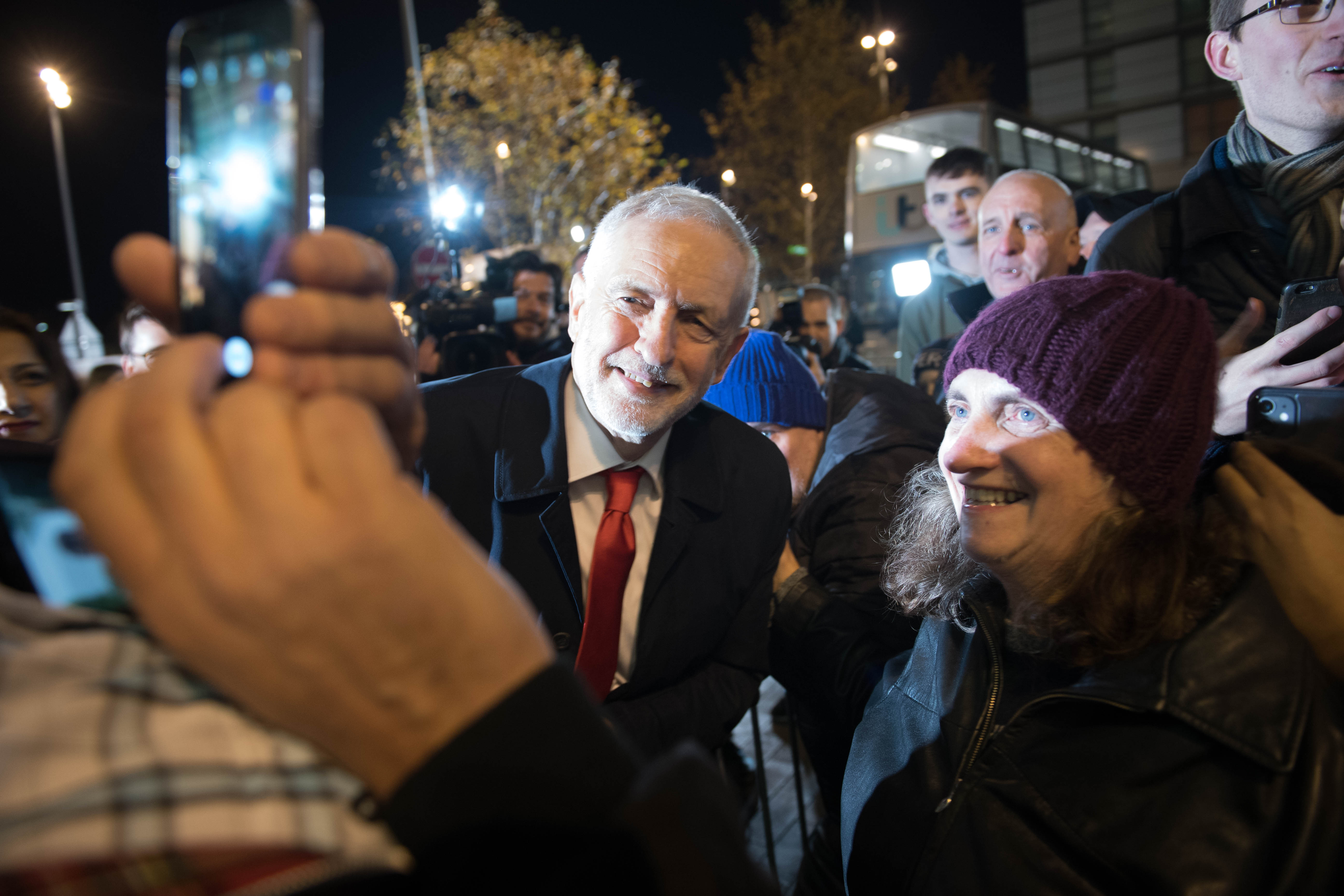 Labour Party leader Jeremy Corbyn arrives for a head-to-head General Election debate with Prime Minister Boris Johnson, at dock10 in MediaCity UK in Manchester, ahead of the General Election.