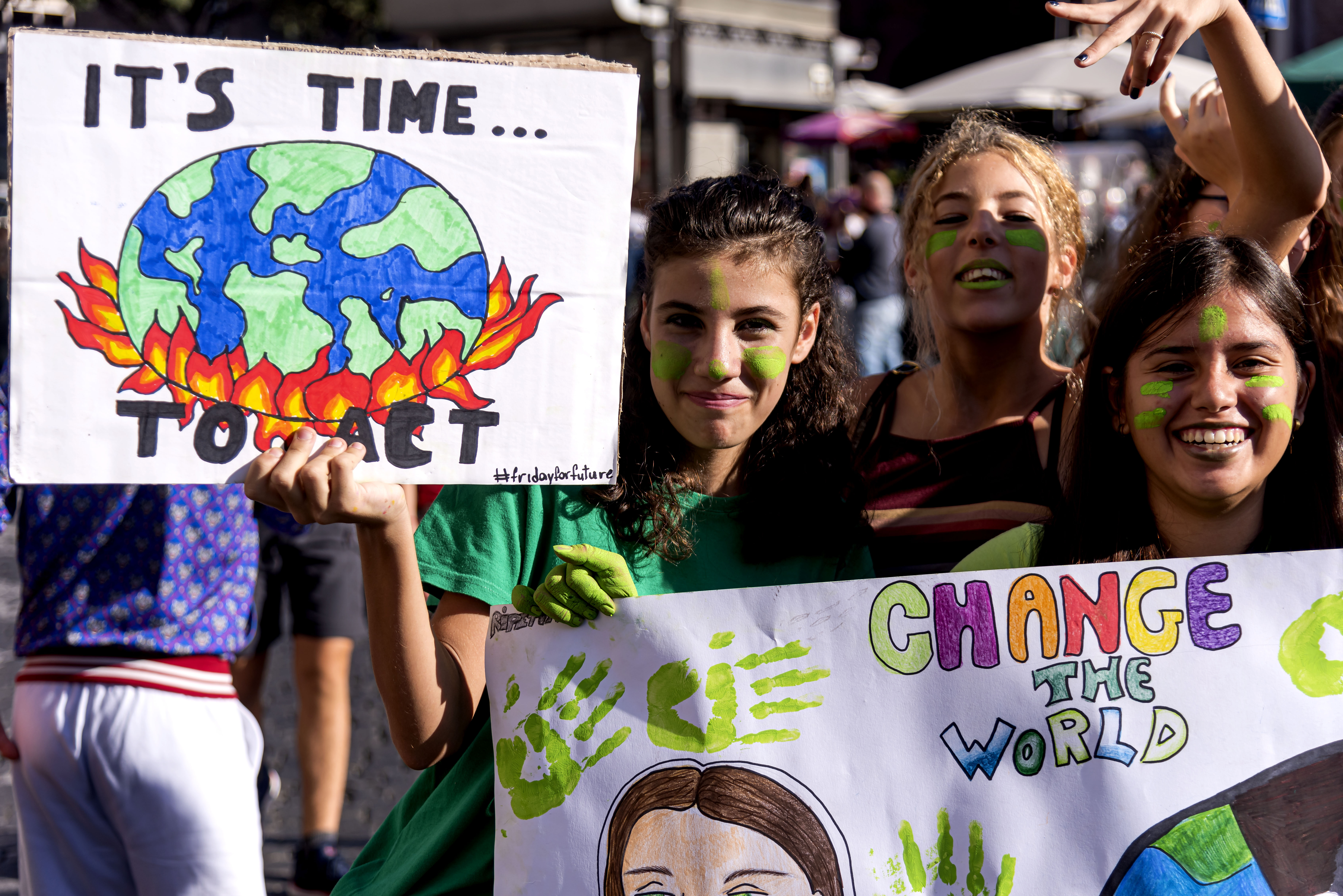 ROME, ITALY - SEPTEMBER 27: People take part in the climate march 'Fridays for Future, the Global Climate Strike  for the planet, launched by 16-year-old Greta Thunberg who has become a symbol of the fight against climate change, to demand for urgent measures and concrete action to combat climate change, global warming on September 27, 2019 in Rome, Italy. (Photo by Stefano Montesi - Corbis/  Getty Images)