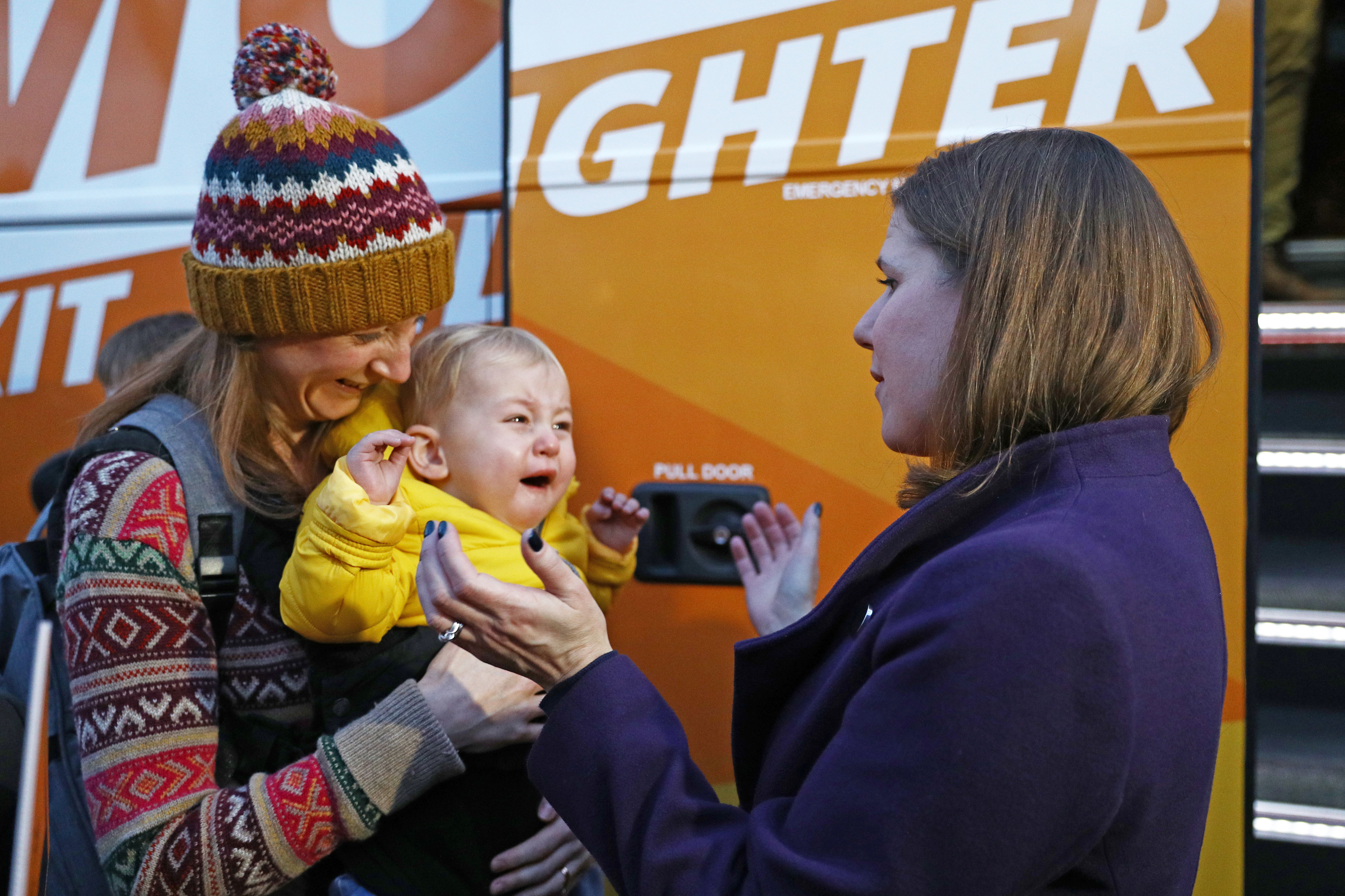 Liberal Democrat leader Jo Swinson meets supporters during a visit to Dunkertons Cider Company, an organic and plastic free brewery in Cheltenham, Gloucestershire, during campaigning for the General Election.