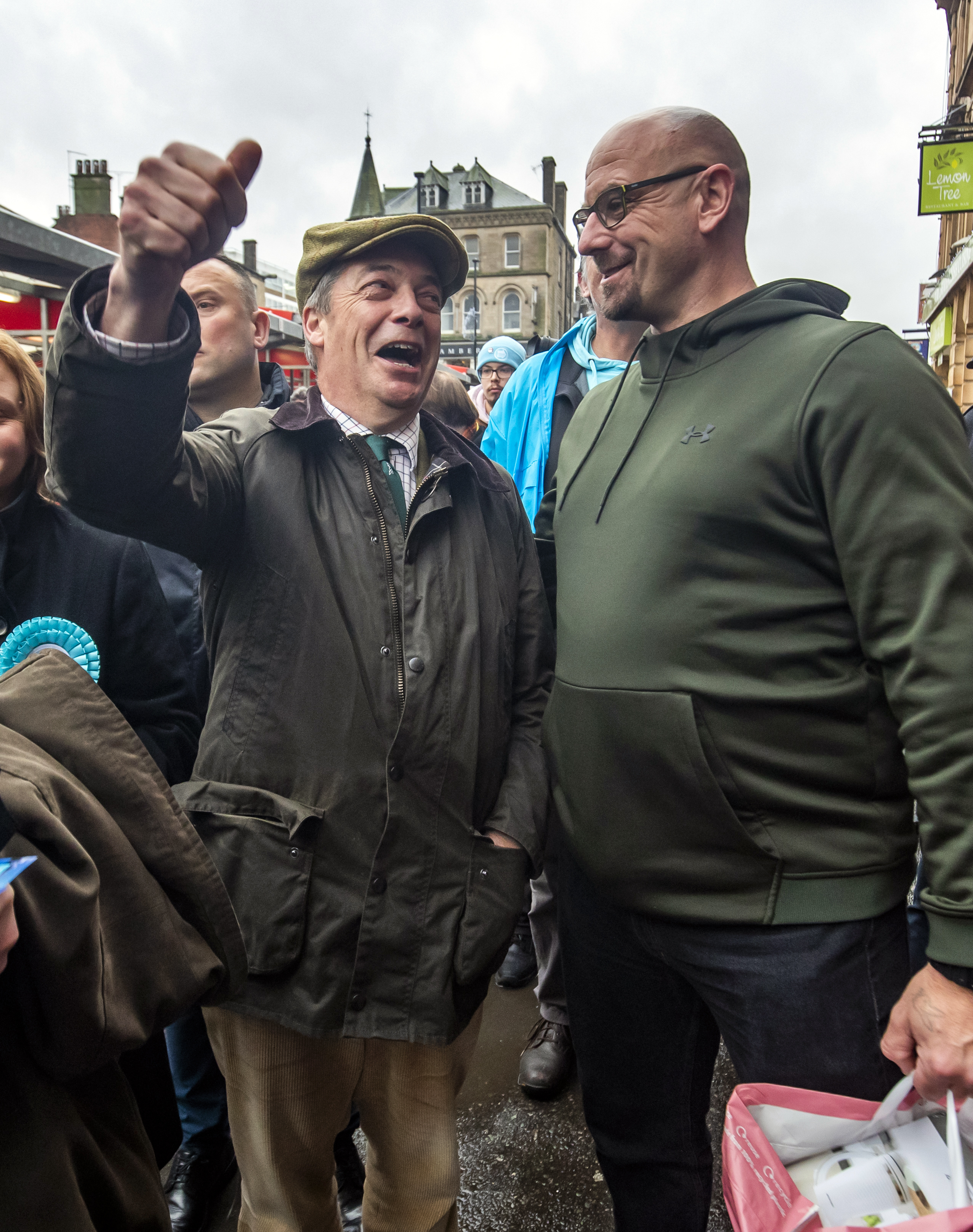 Brexit Party leader Nigel Farage meets locals in Barnsley market, while on the General Election campaign trail.