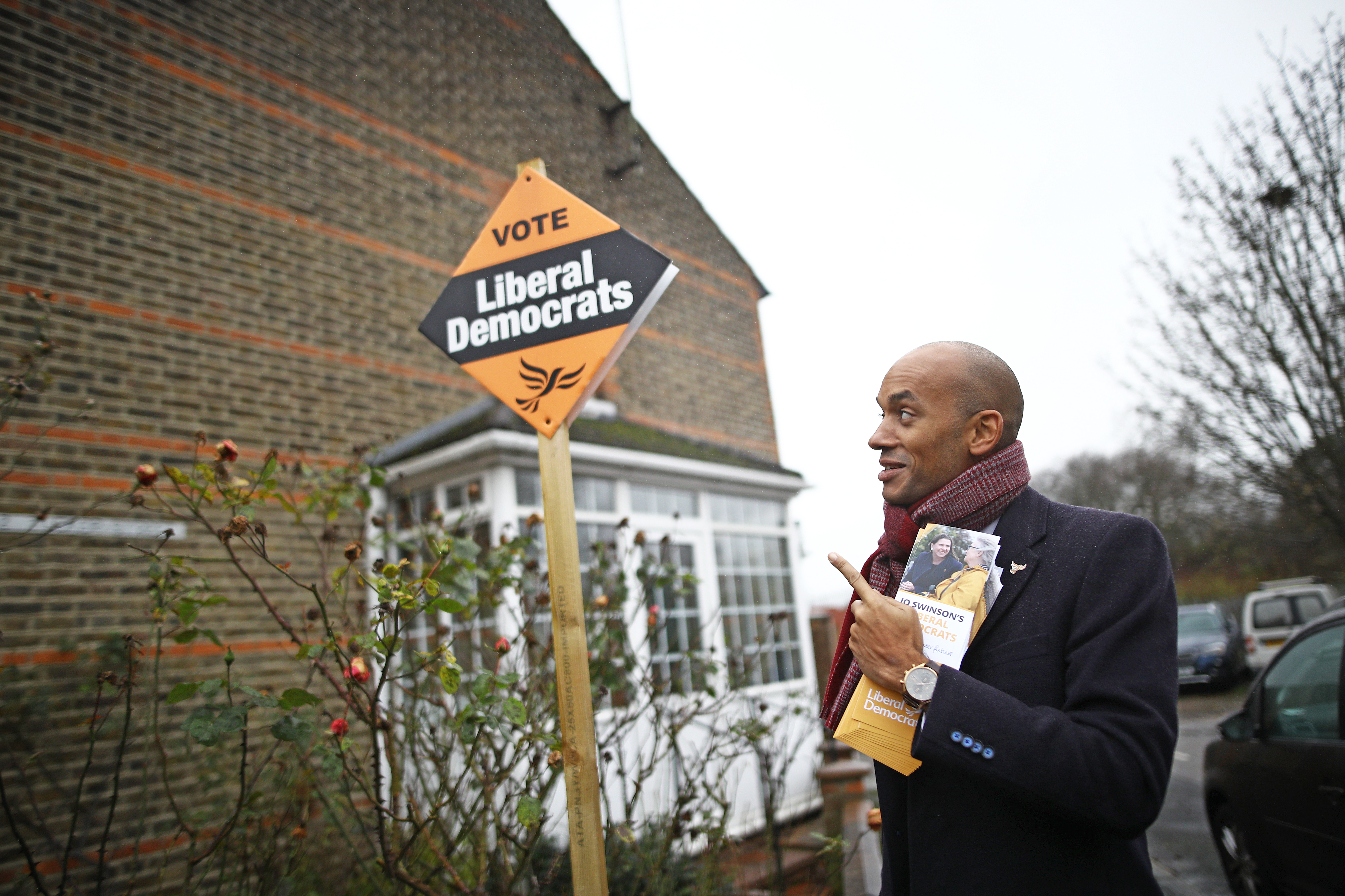 Liberal Democrat candidate Chuka Umunna out canvassing whilst on the General Election campaign trail in Watford.