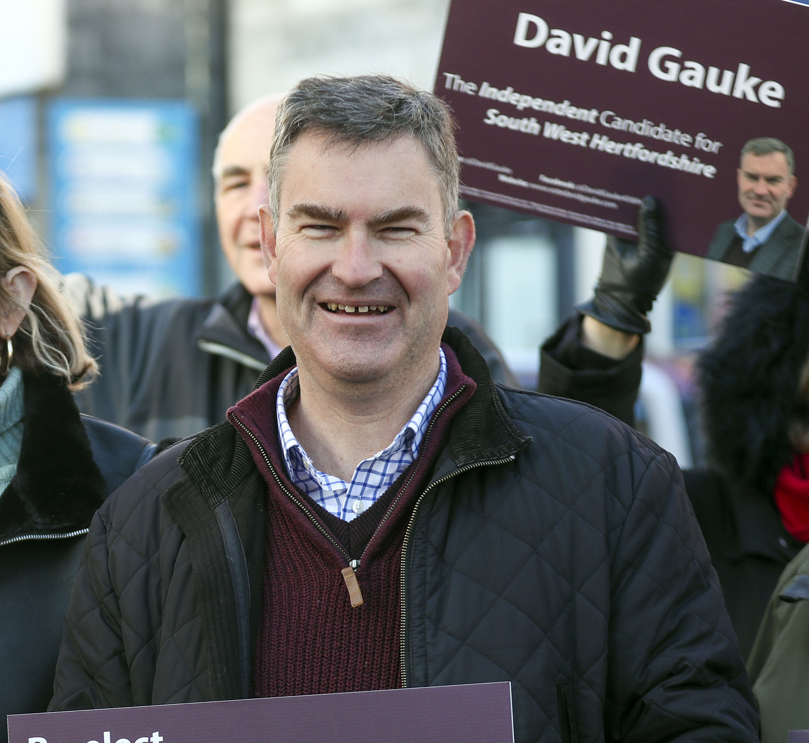 Independent MP David Gauke in Rickmansworth, Hertfordshire whilst on the General Election campaign trail.