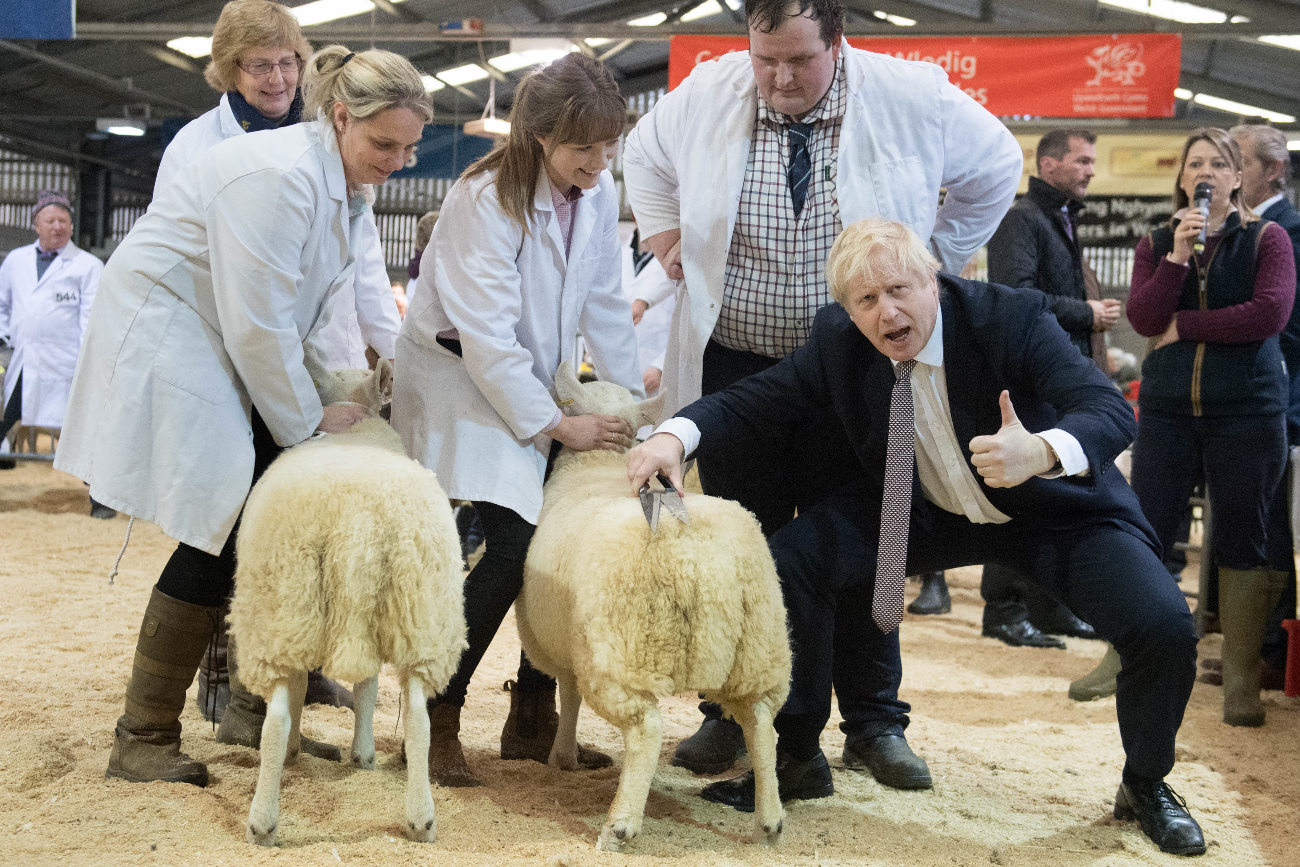 Prime Minister Boris Johnson, visits the Royal Welsh Showground, in Llanelwedd, Builth Wells whilst on the General Election campaign trail. PA Photo. Picture date: Monday November 25, 2019. See PA story POLITICS Election. Photo credit should read: Stefan Rousseau/PA Wire