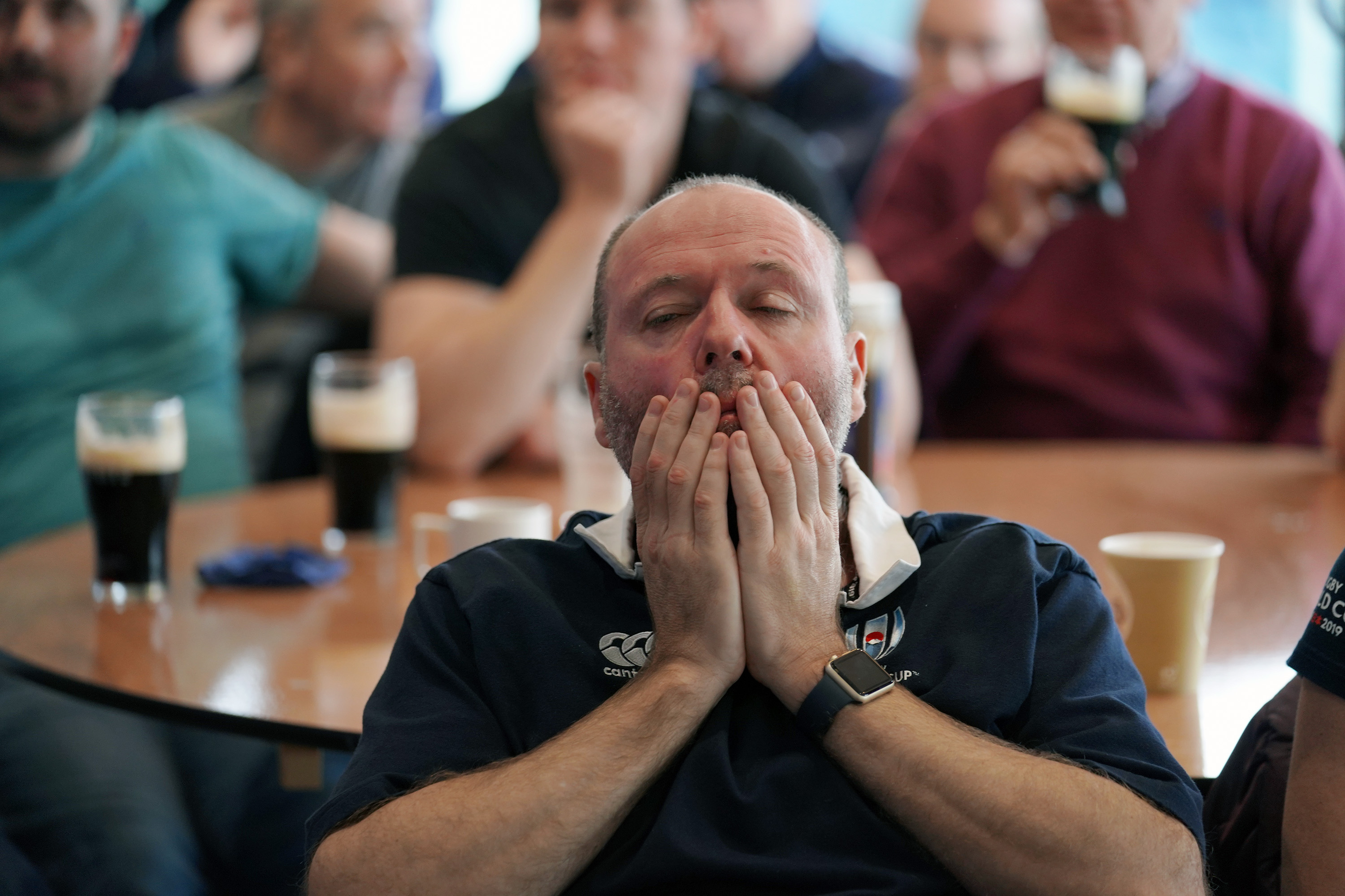 England fans are dejected following the Rugby World Cup Final at Sale Rugby Club, Sale. (Photo by Ian Hodgson/PA Images via Getty Images)