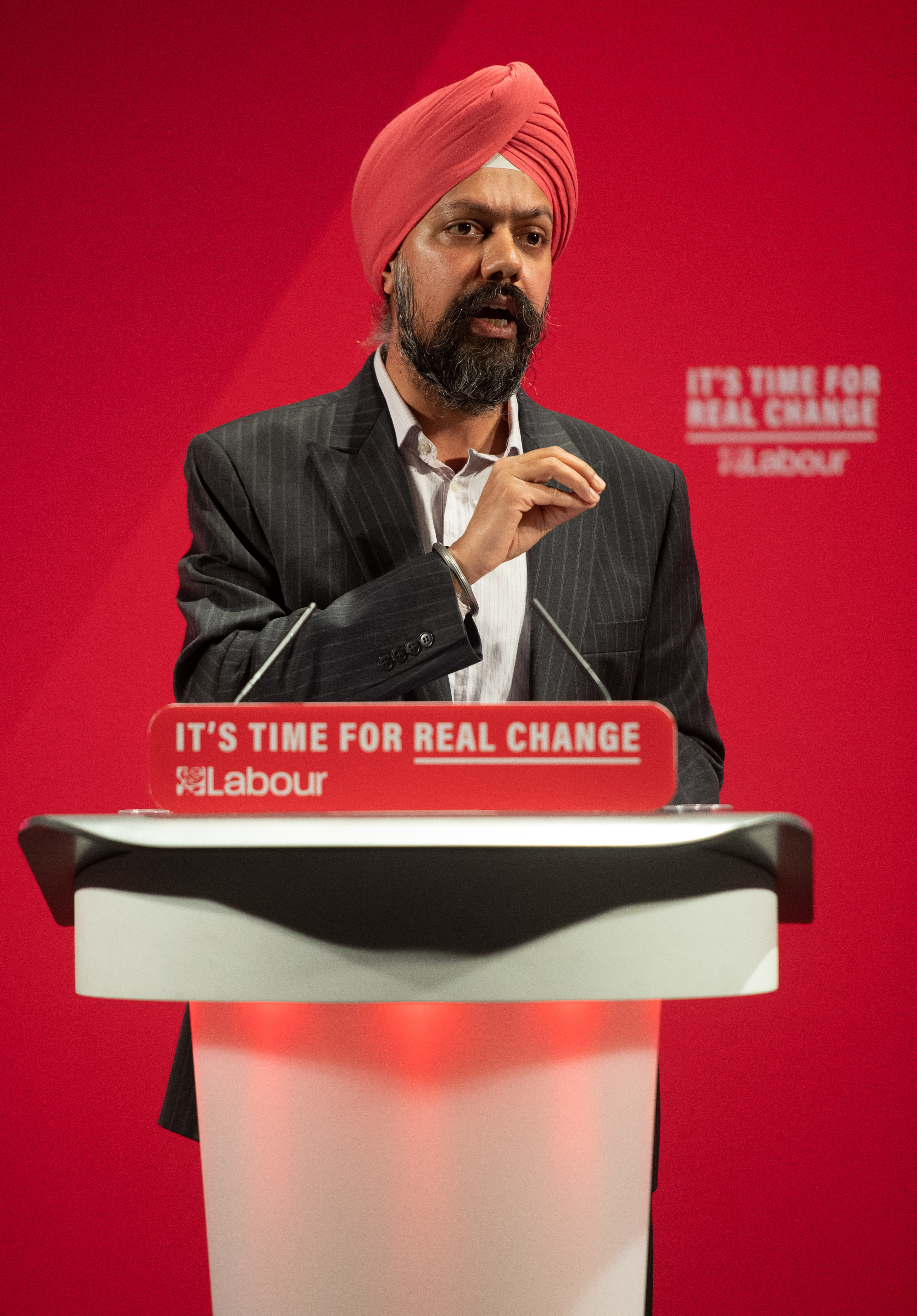 Tan Dhesi, Labour Party parliamentary candidate for Slough at the launch of the Labour Party race and faith manifesto at the Bernie Grant Arts Centre, north London.