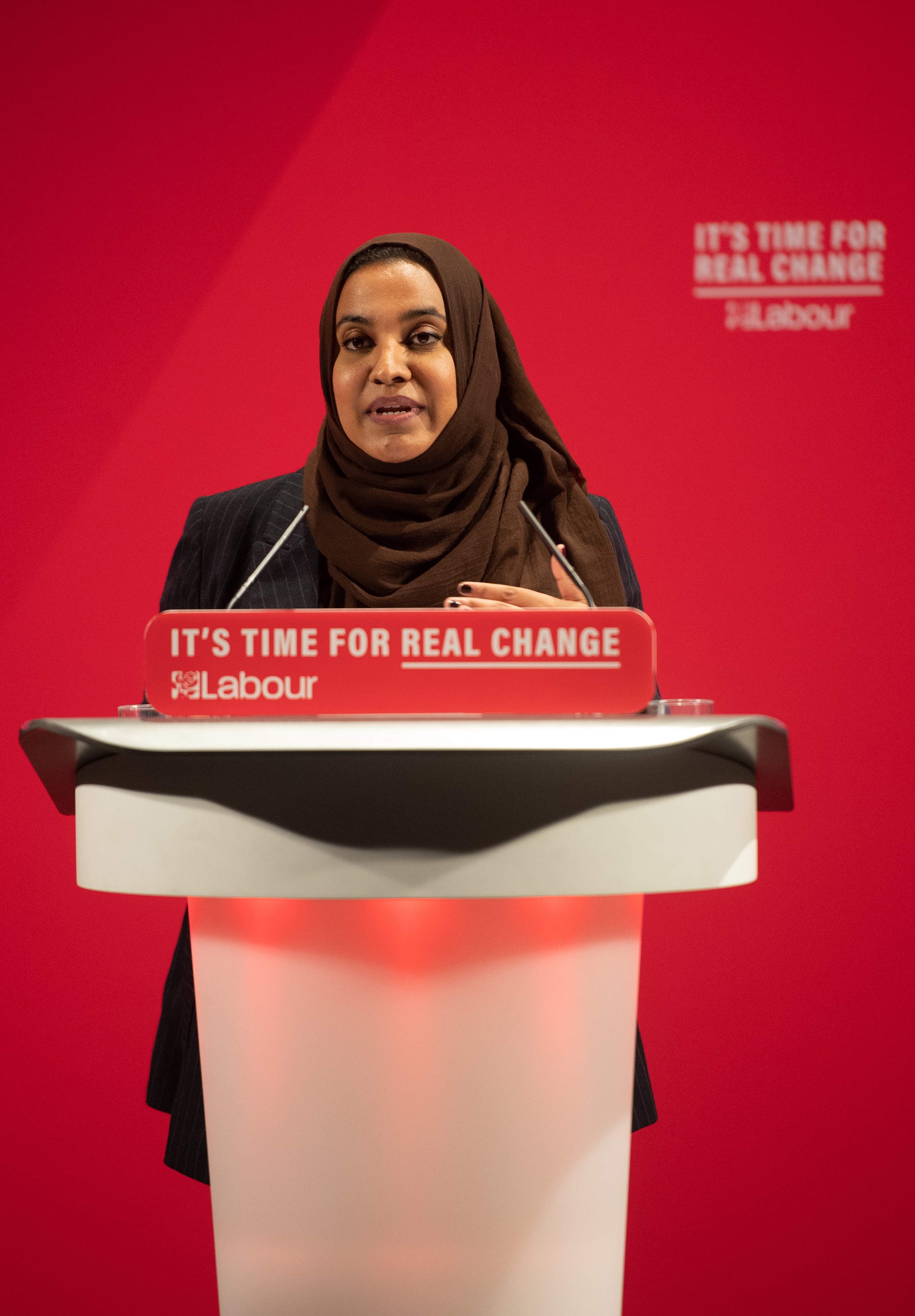 Liza Begum at the launch of the Labour Party race and faith manifesto at the Bernie Grant Arts Centre, north London.