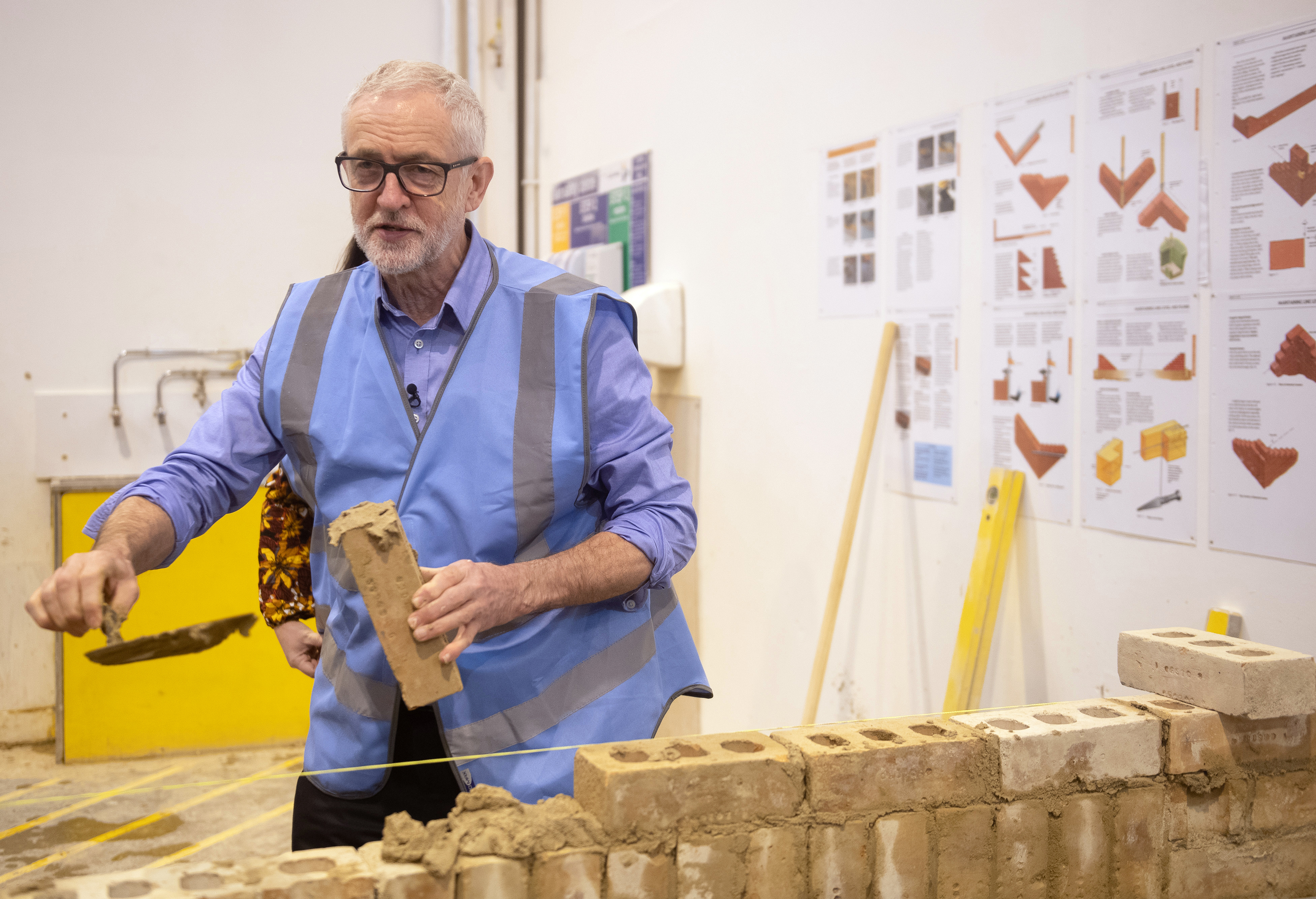 Labour Party leader Jeremy Corbyn tries his hand at bricklaying during a visit to the West Nottinghamshire College Construction Centre, in Ashfield, whilst on the General Election campaign trail.
