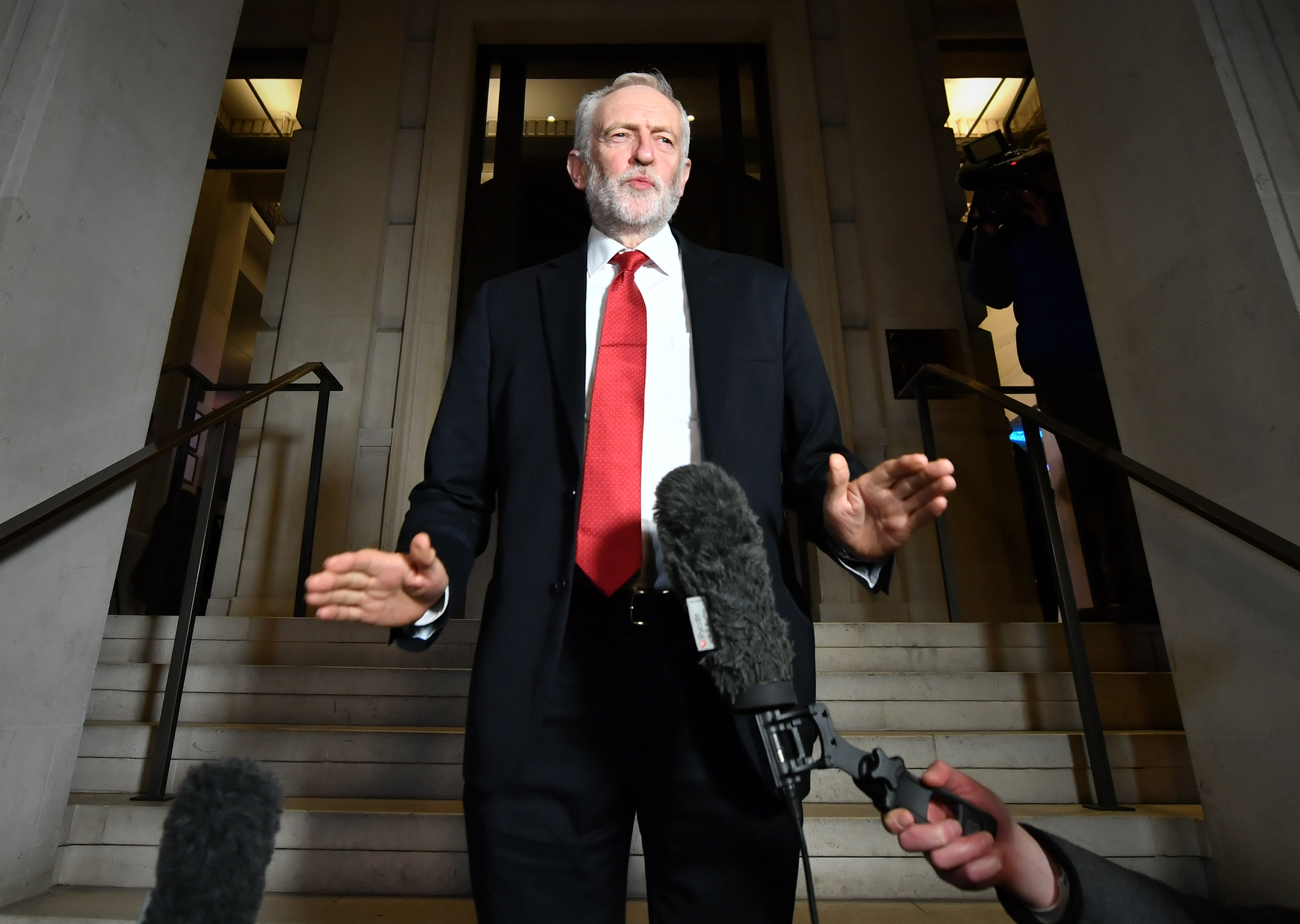 Labour Party leader Jeremy Corbyn speaking after a Labour clause V meeting on the manifesto at Savoy Place in London.