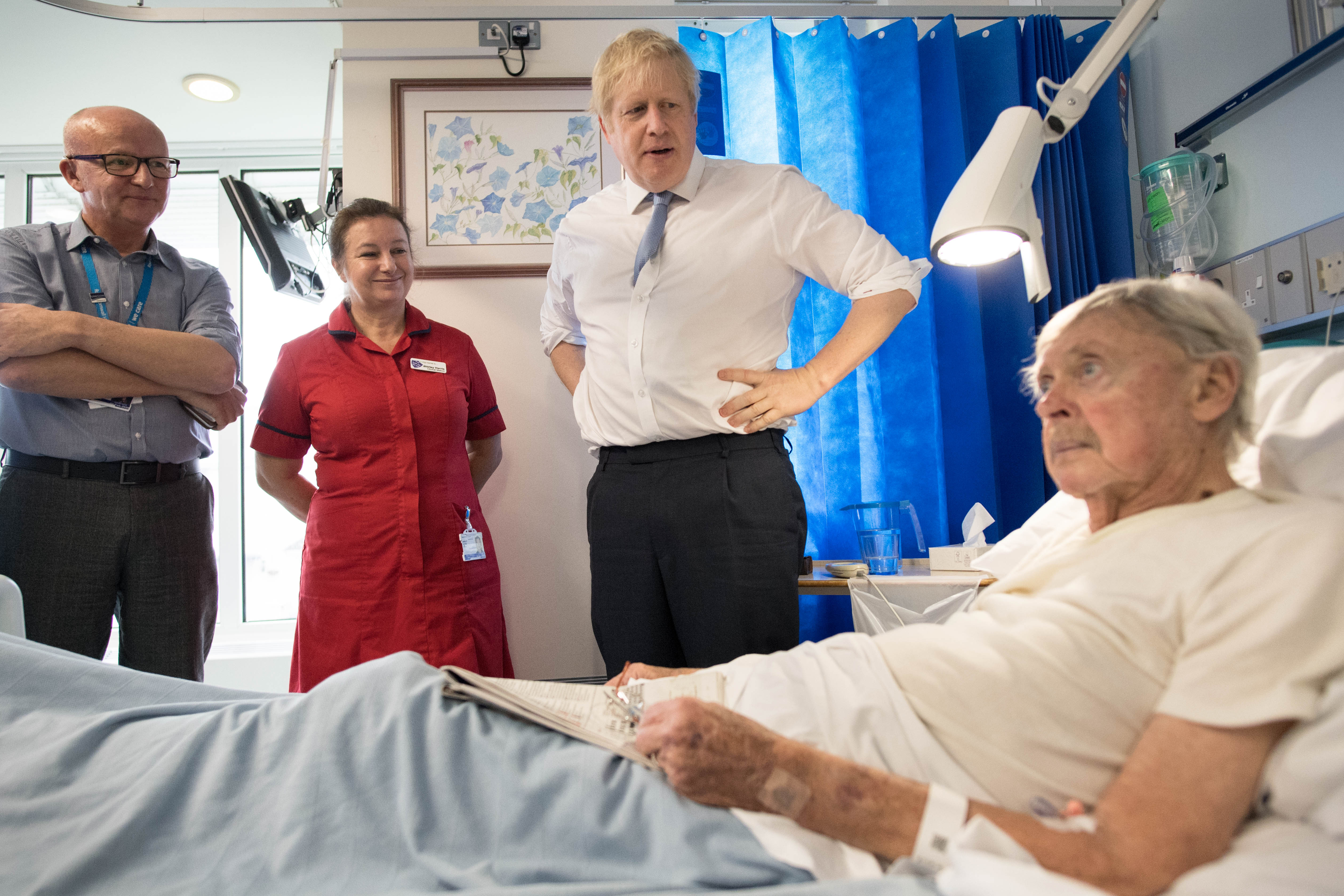 Prime Minister Boris Johnson meets staff and patients during a visit to West Cornwall Community Hospital, in Penzance, Cornwall, whilst on the General Election campaign trail.