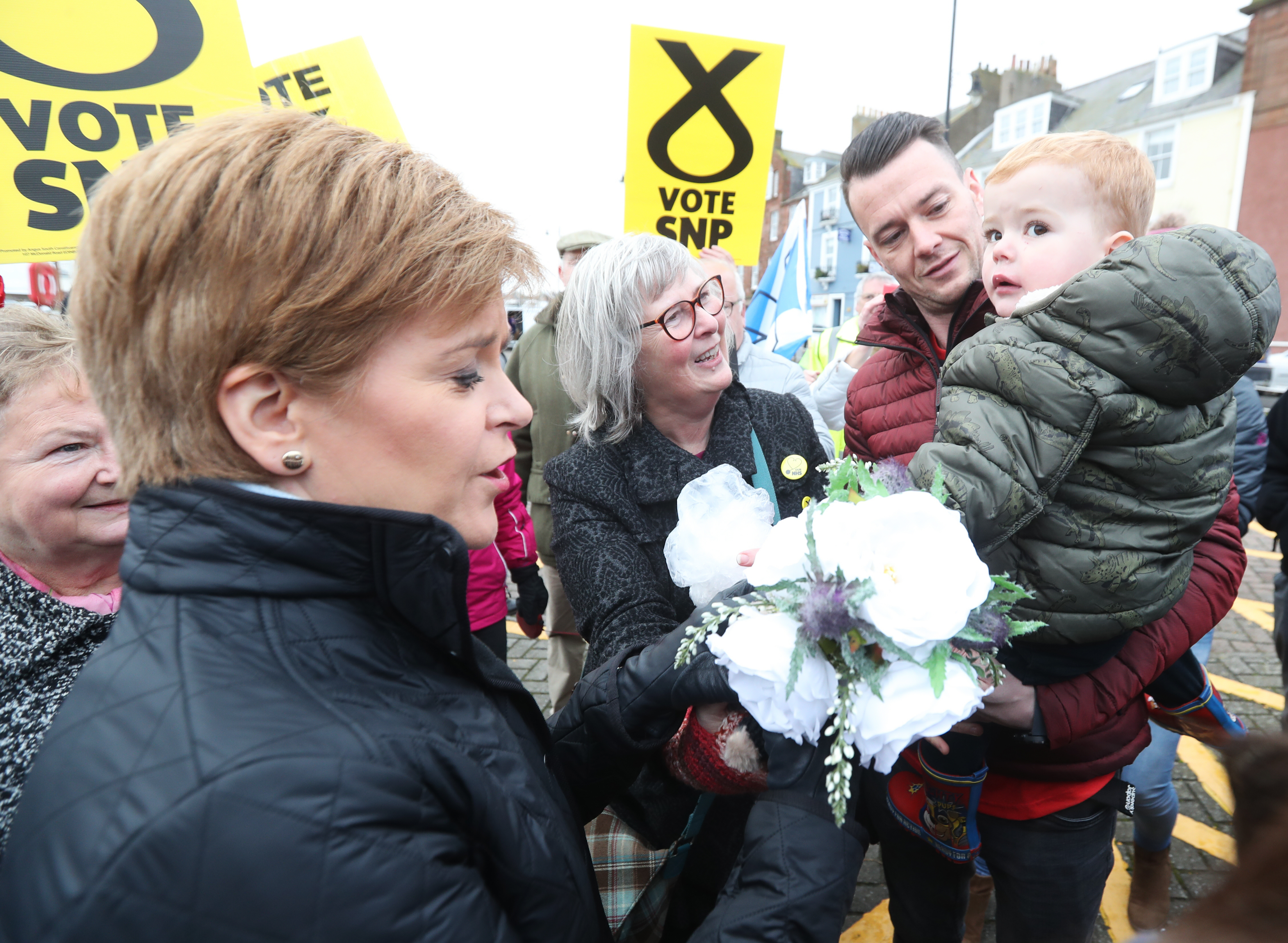 Scottish First Minister Nicola Sturgeon receives flowers from supporters in Abroath.