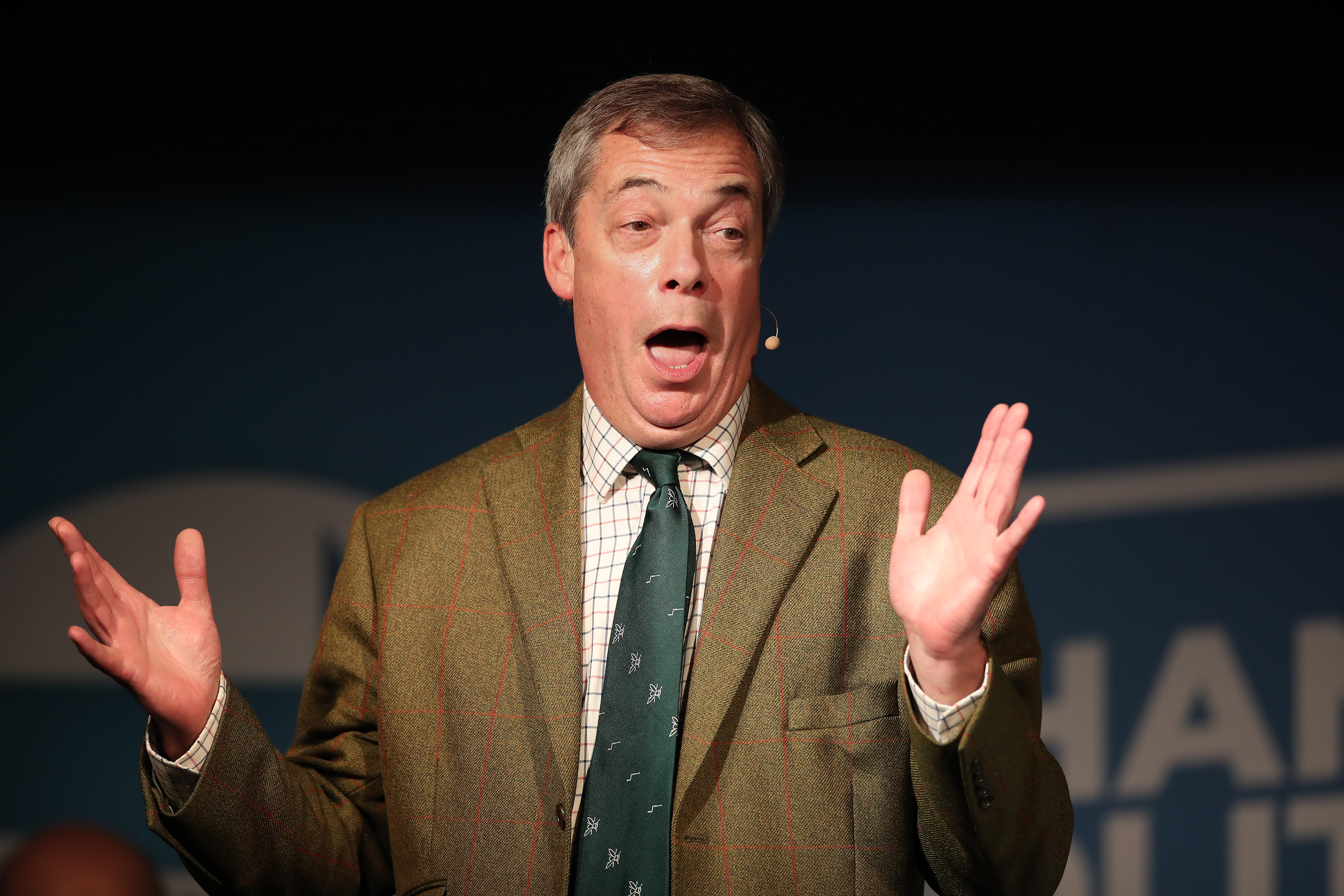 Brexit Party leader Nigel Farage speaking at an event in Barnsley while on the General Election campaign trail.