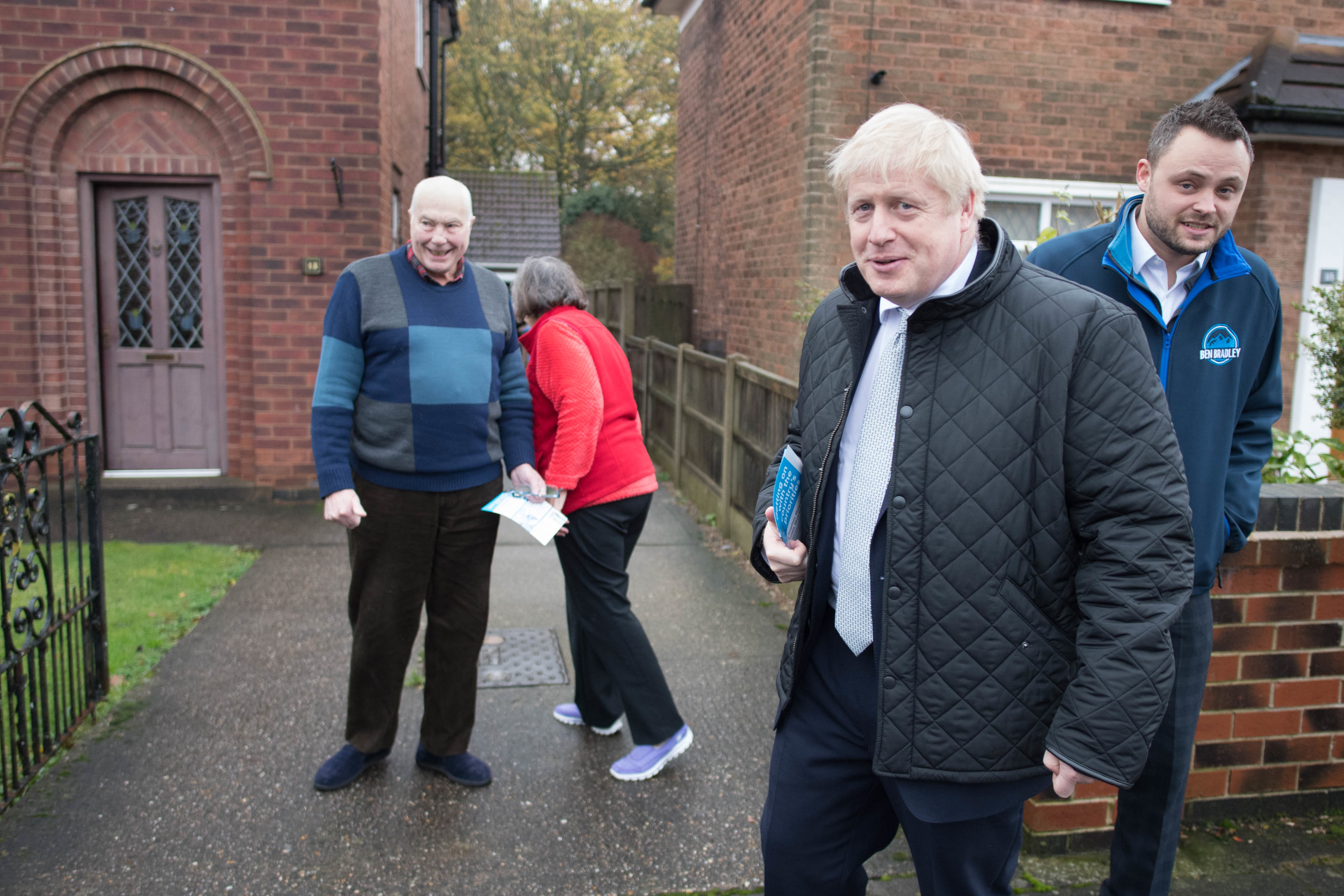 Prime Minister Boris Johnson door knocking in Mansfield, Nottinghamshire, whilst on the General Election campaign trail. PA Photo. Picture date: Saturday November 16, 2019. See PA story POLITICS Election. Photo credit should read: Stefan Rousseau/PA Wire