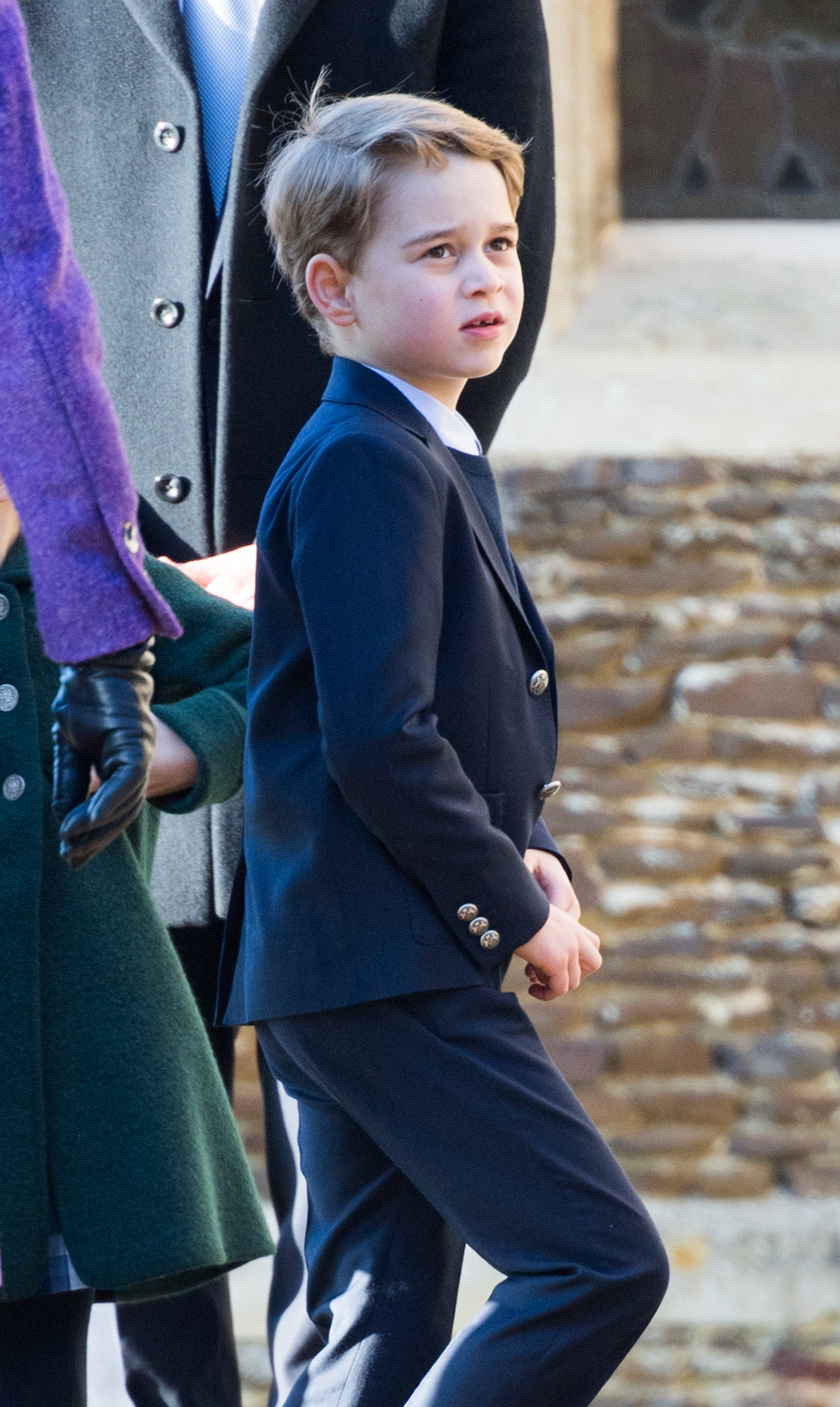 KING'S LYNN, ENGLAND - DECEMBER 25:  Prince George of Cambridge attends the Christmas Day Church service at Church of St Mary Magdalene on the Sandringham estate on December 25, 2019 in King's Lynn, United Kingdom. (Photo by Pool/Samir Hussein/WireImage)