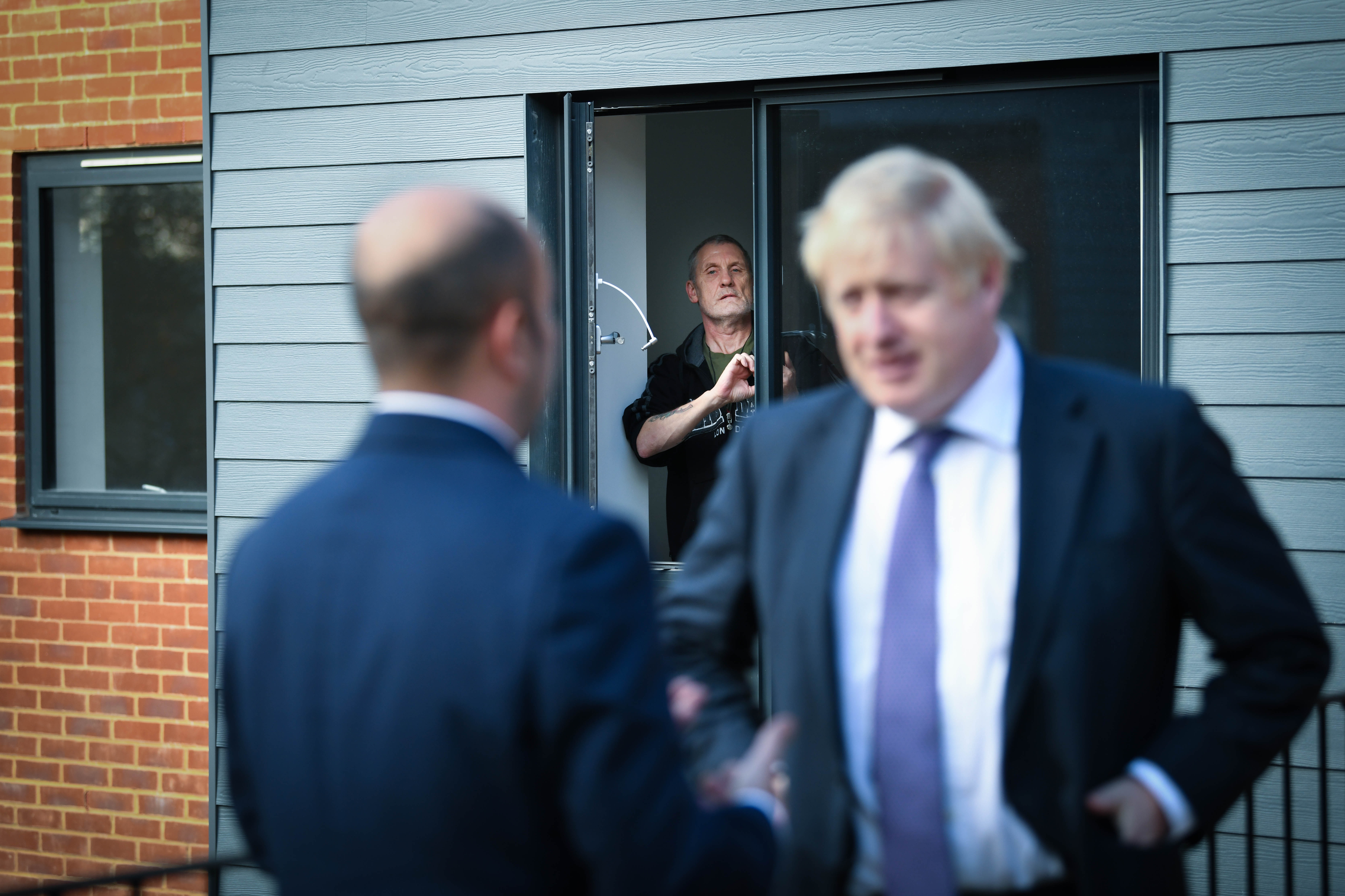 Paul O'Rourke, who served with the Royal Irish Rangers, looks on after meeting Prime Minister Boris Johnson during a visit to a veterans centre in Salisbury, whilst on the General Election campaign trail.